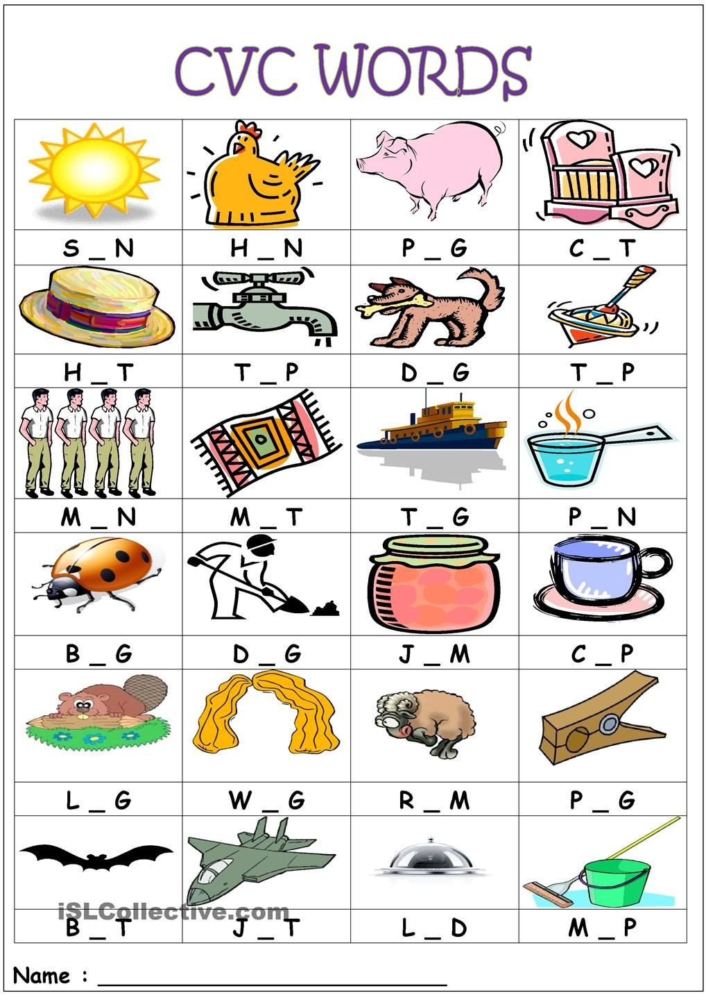 Free Printable Cvc Worksheets Cvc Words Medial sounds