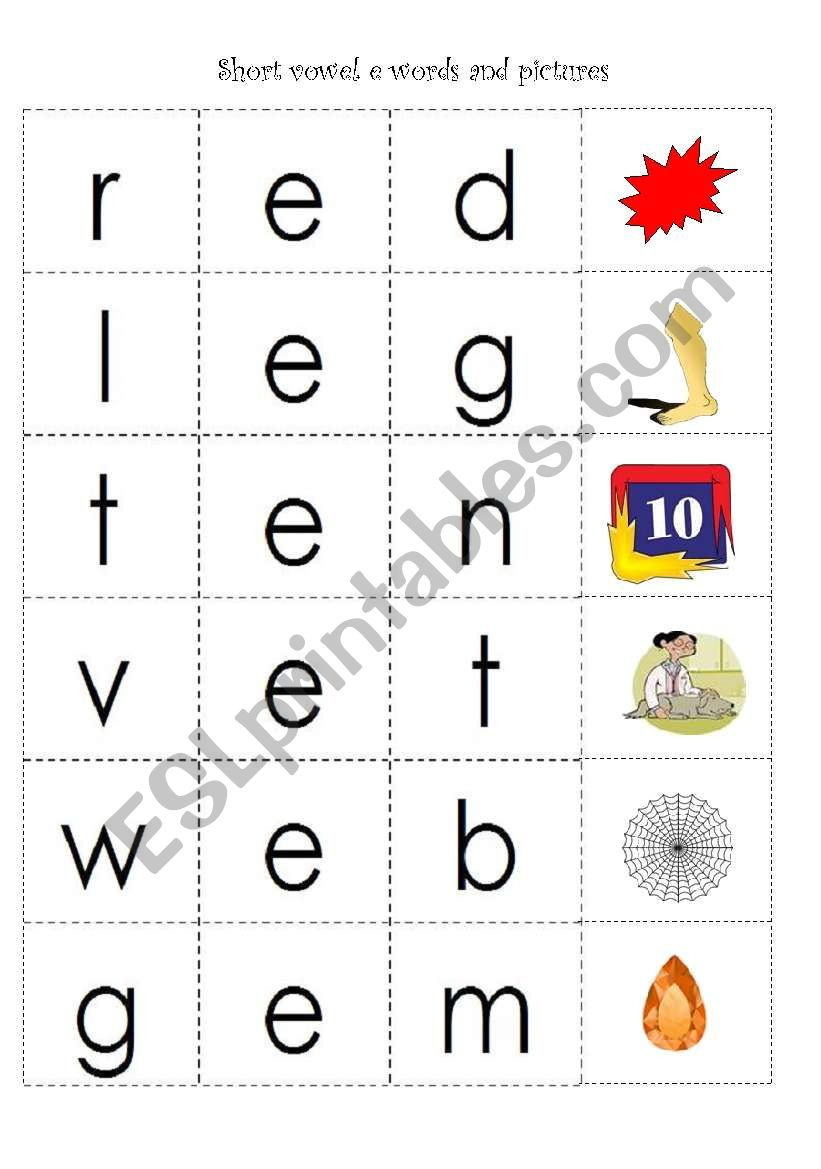 Free Printable Cvc Worksheets Cvc Words with Short Vowel E Esl Worksheet by Fleur