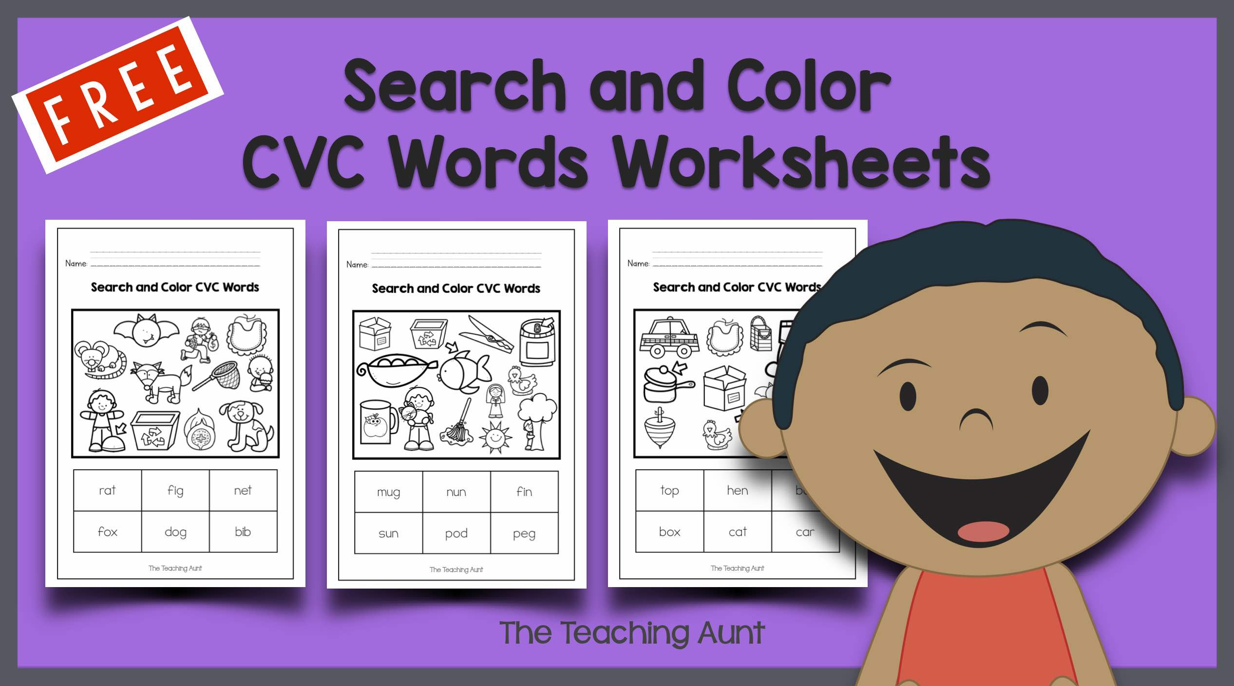 Free Printable Cvc Worksheets Search and Color Cvc Words Worksheets the Teaching Aunt