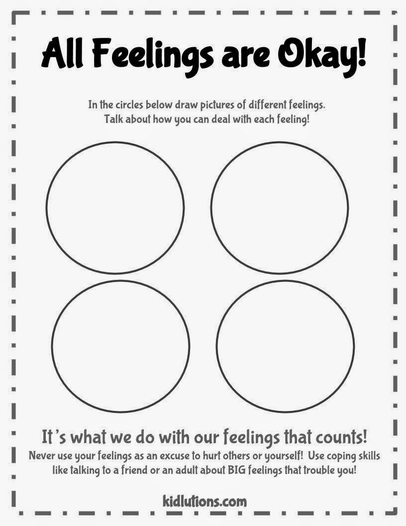 Free Printable Feelings Worksheets All Feelings are Okay Free Printable Good to Use with