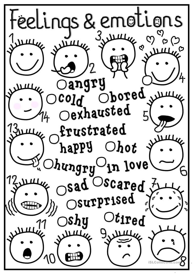Free Printable Feelings Worksheets Feelings and Emotions Matching Worksheet Free Esl
