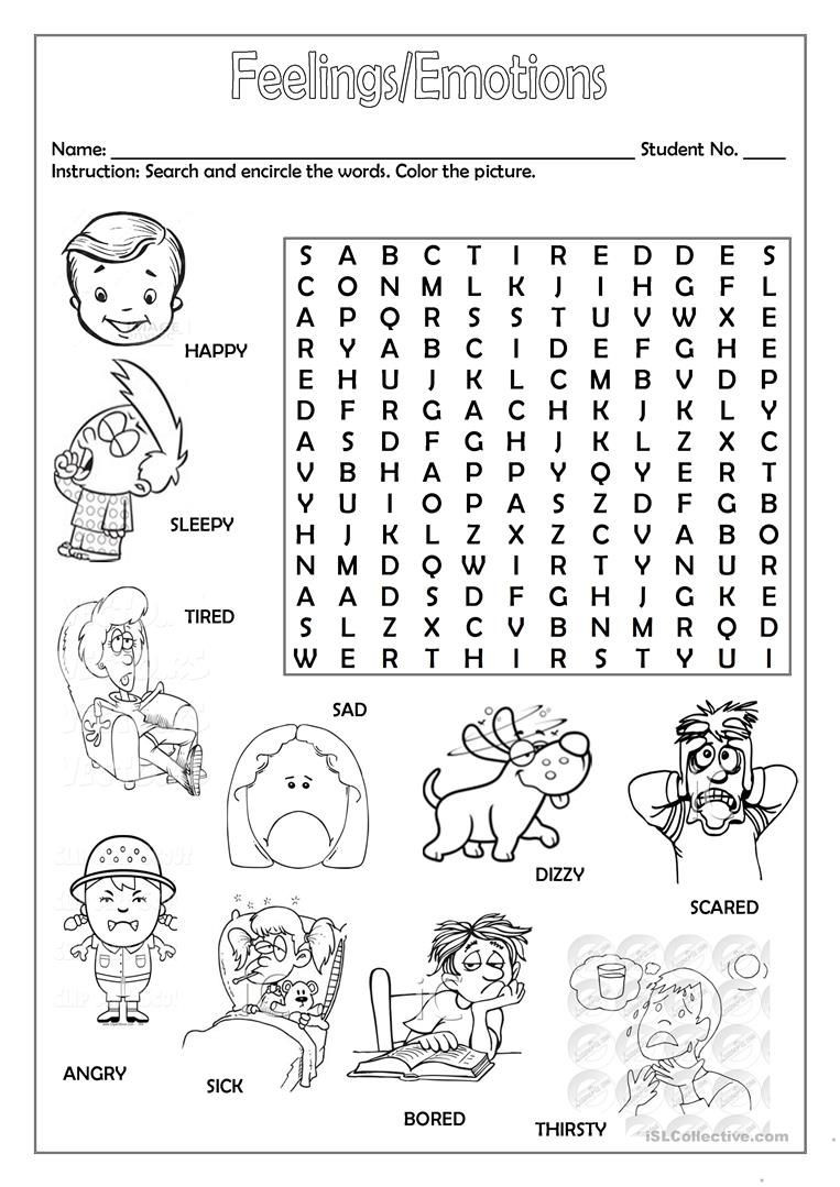 Free Printable Feelings Worksheets Feelings Emotions Worksheet Free Esl Printable Worksheets