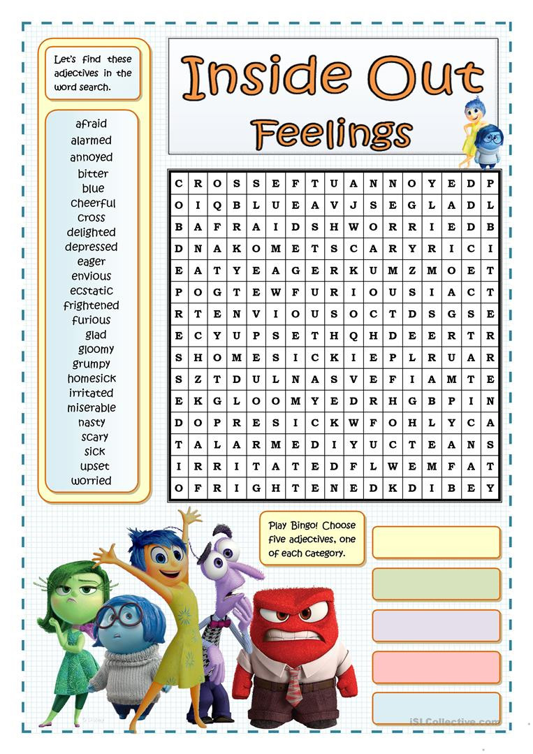Free Printable Feelings Worksheets Inside Out Feelings Wordsearch English Esl Worksheets