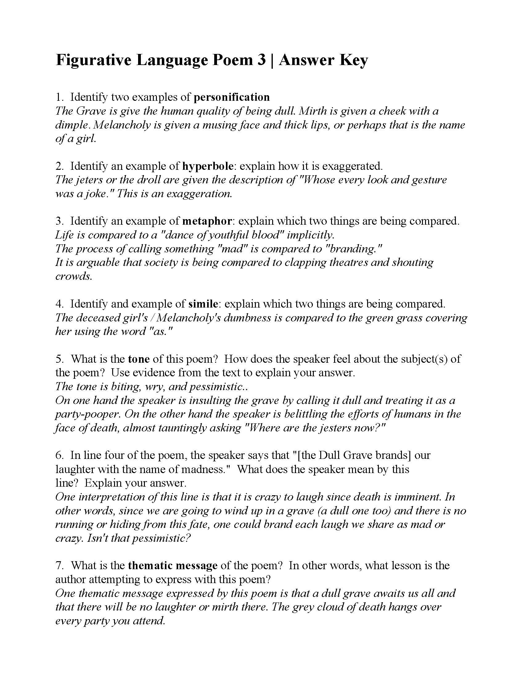 Free Printable Figurative Language Worksheets Figurative Language Poem From the Grave by Robert Answers