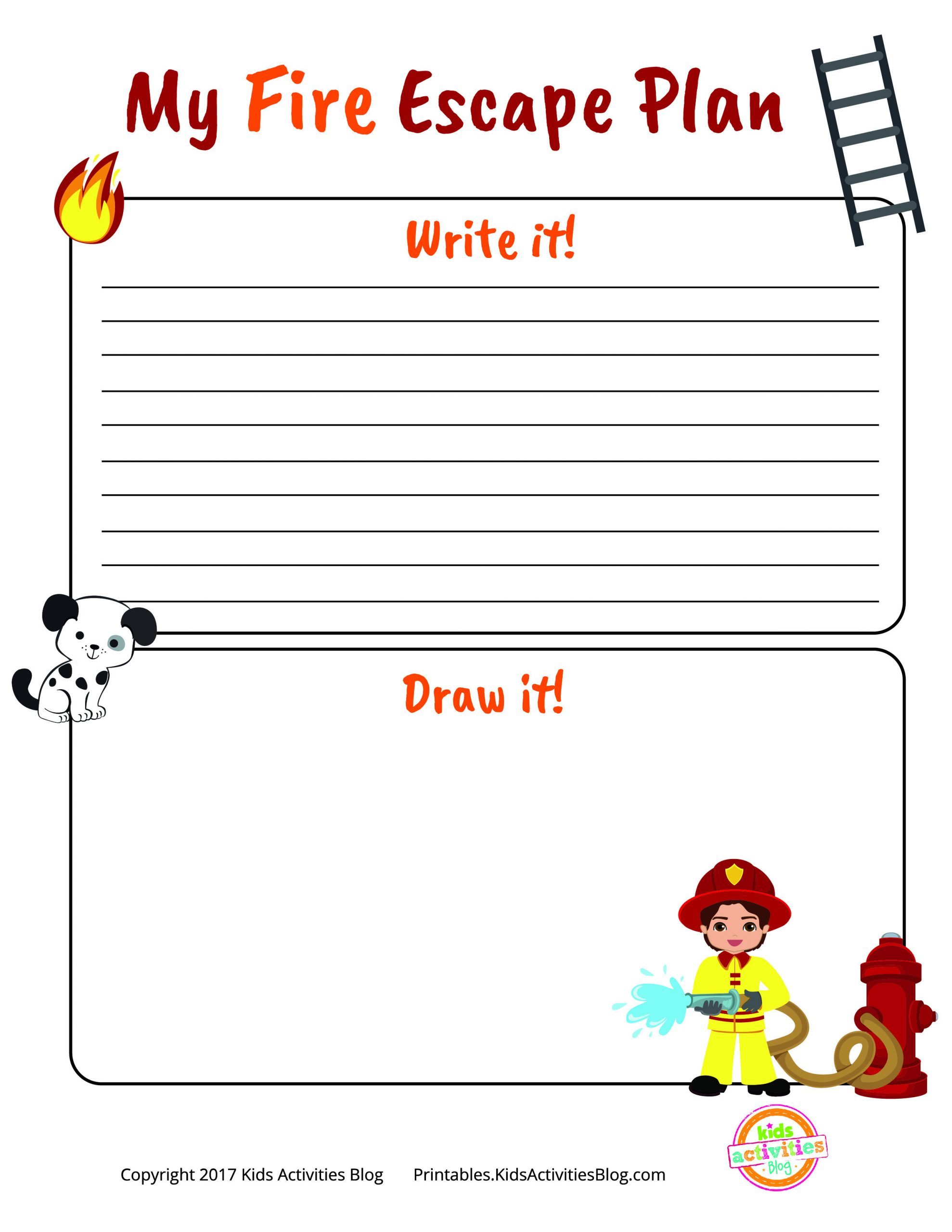 Free Printable Fire Safety Worksheets Fire Escape Plan Printable for National Fire Prevention Week