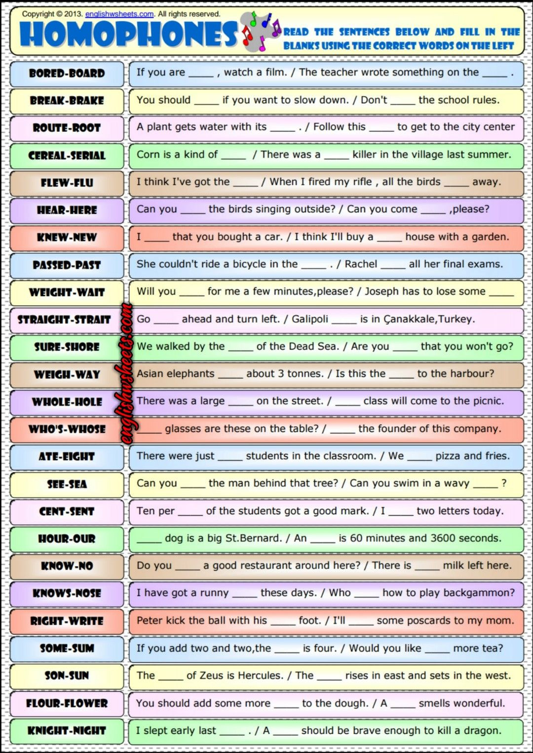 Free Printable Homophone Worksheets Homophones Phonetics Esl Exercises Worksheet