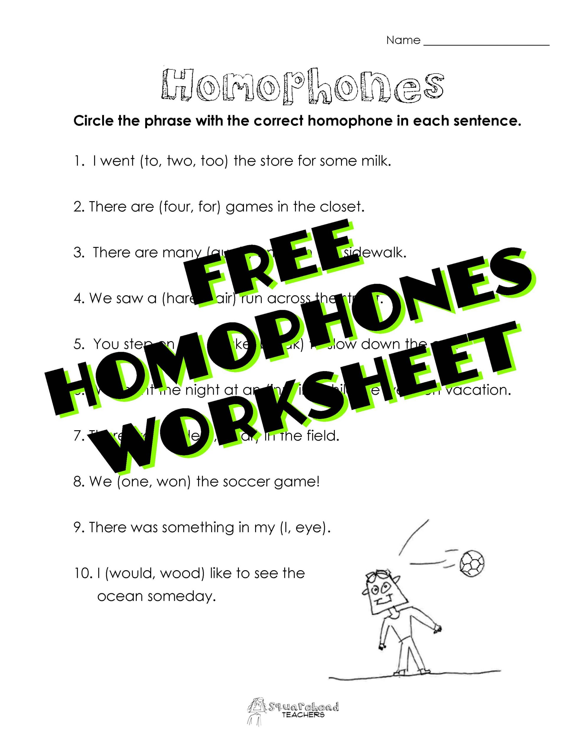 Free Printable Homophone Worksheets Homophones Worksheet