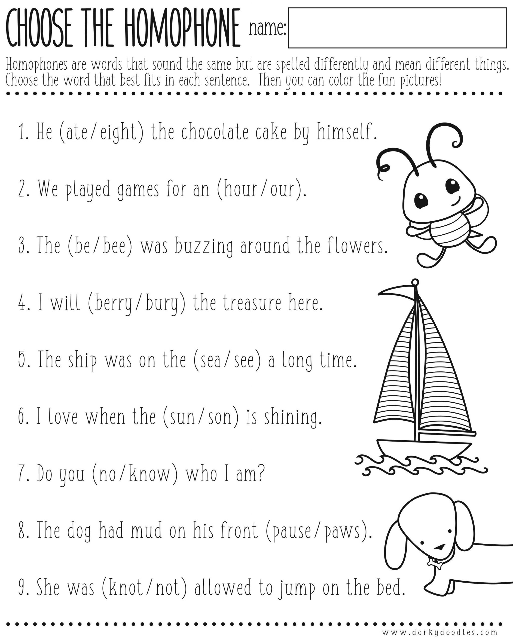 Free Printable Homophone Worksheets Homophones Worksheet Printable – Dorky Doodles