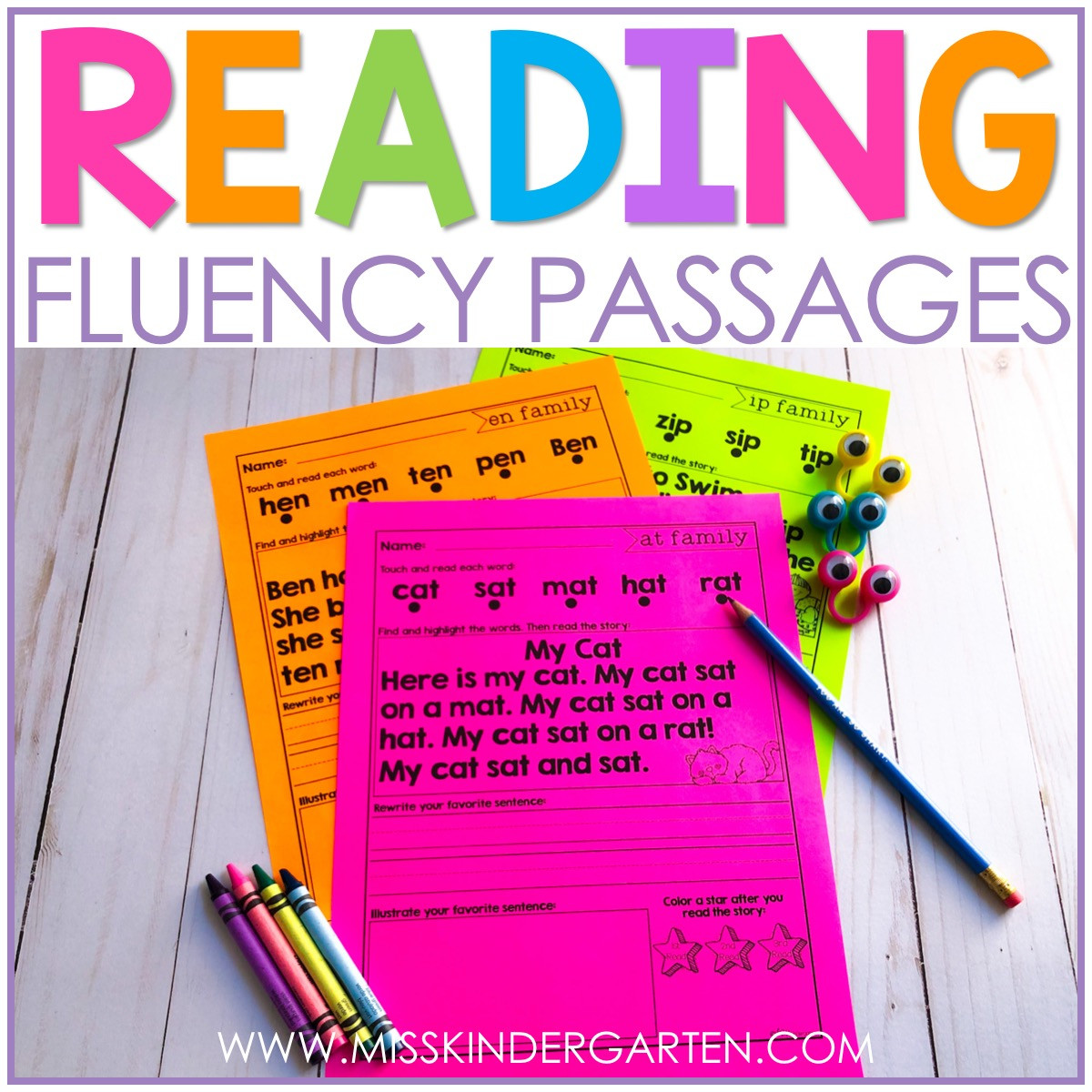 Free Printable Kindergarten Fluency Passages Reading Short Vowel Words with Fluency Passages Miss