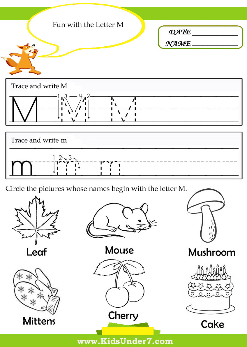 Free Printable Letter M Worksheets the Alphabet the Letter M Kindergarten Resources Letter M