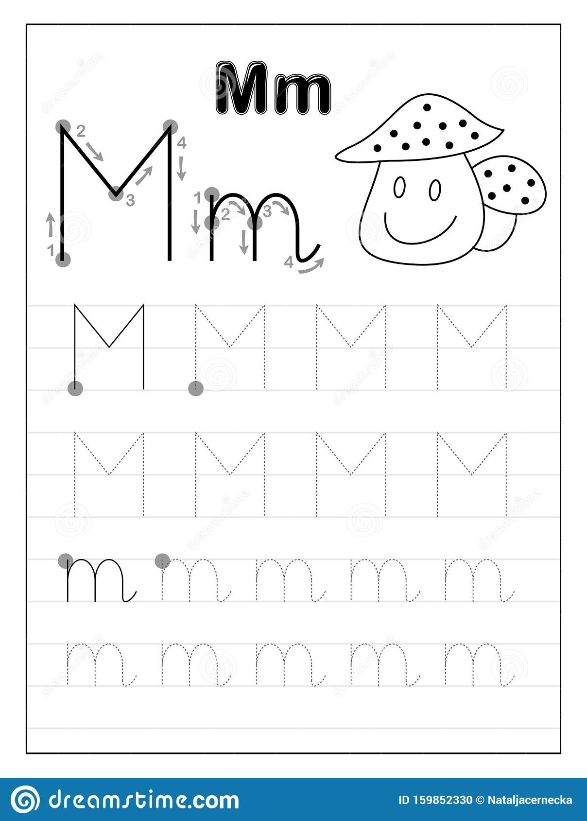 Free Printable Letter M Worksheets Tracing Alphabet Letter M Black and White Educational Pages