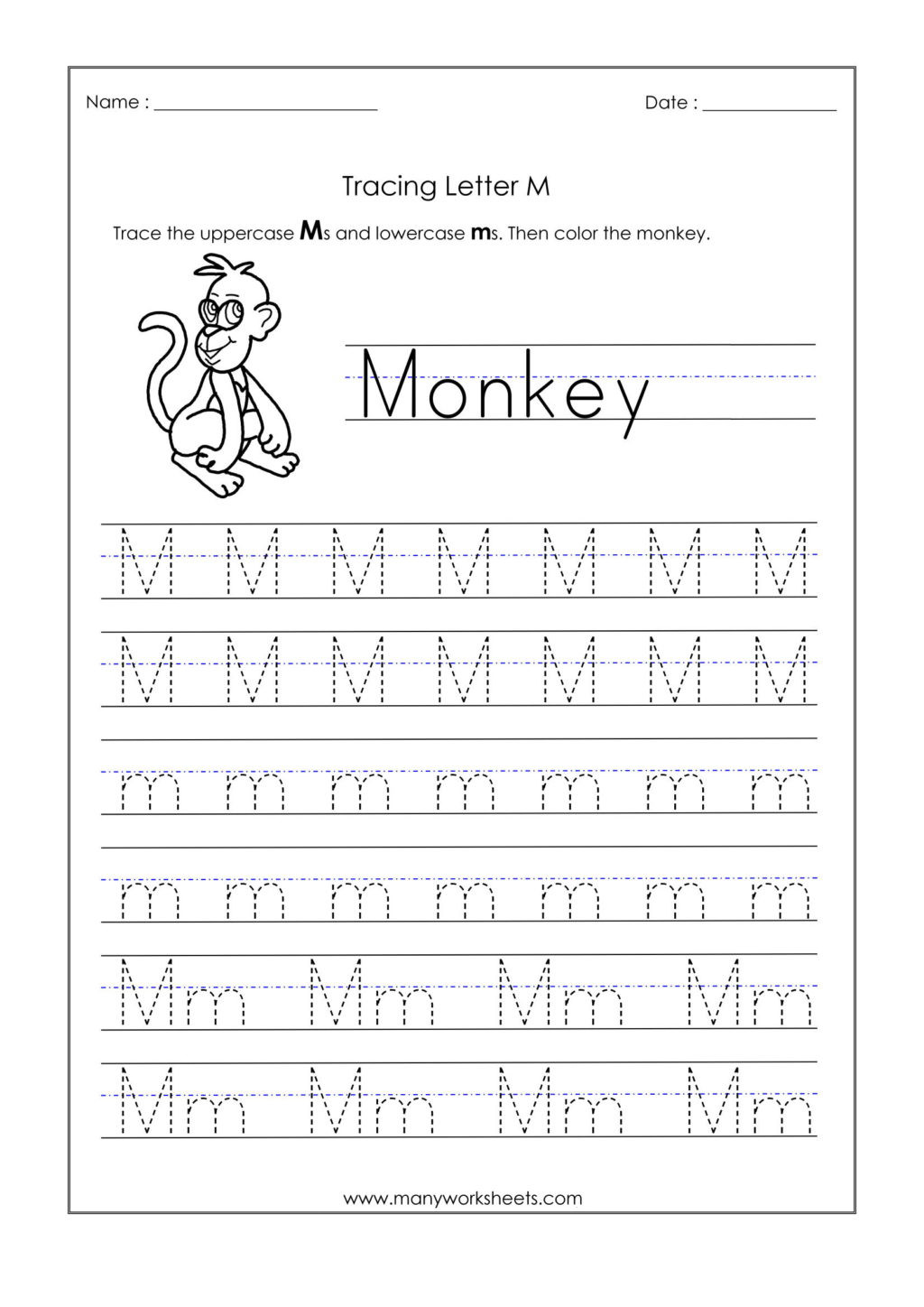 Free Printable Letter M Worksheets Worksheet Kindergarten Tracing Worksheets Handwriting