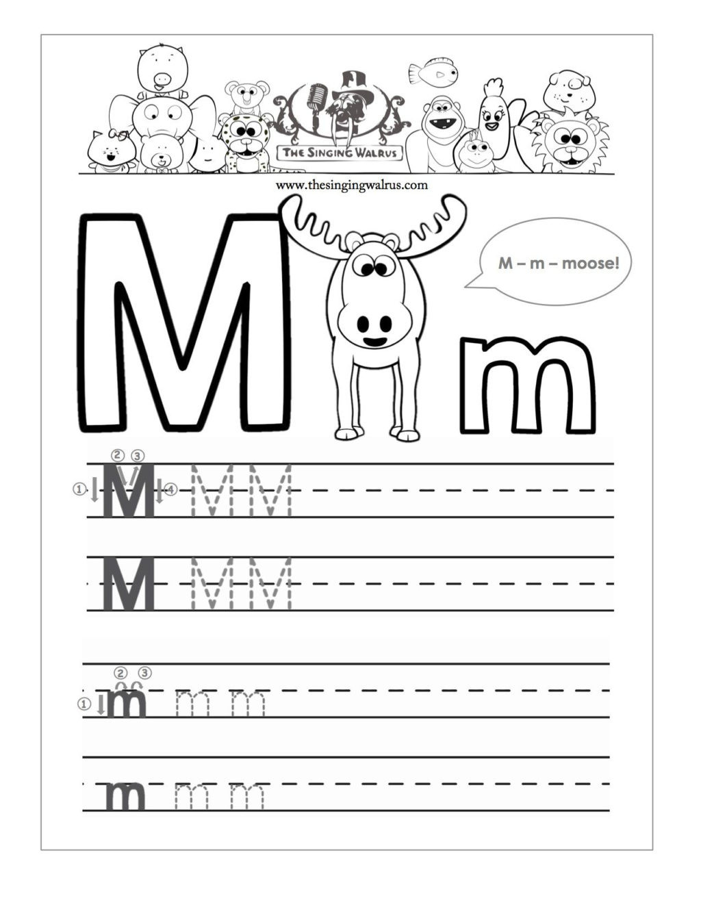 Free Printable Letter M Worksheets Worksheet Worksheet Writing Practice for Kindergarten