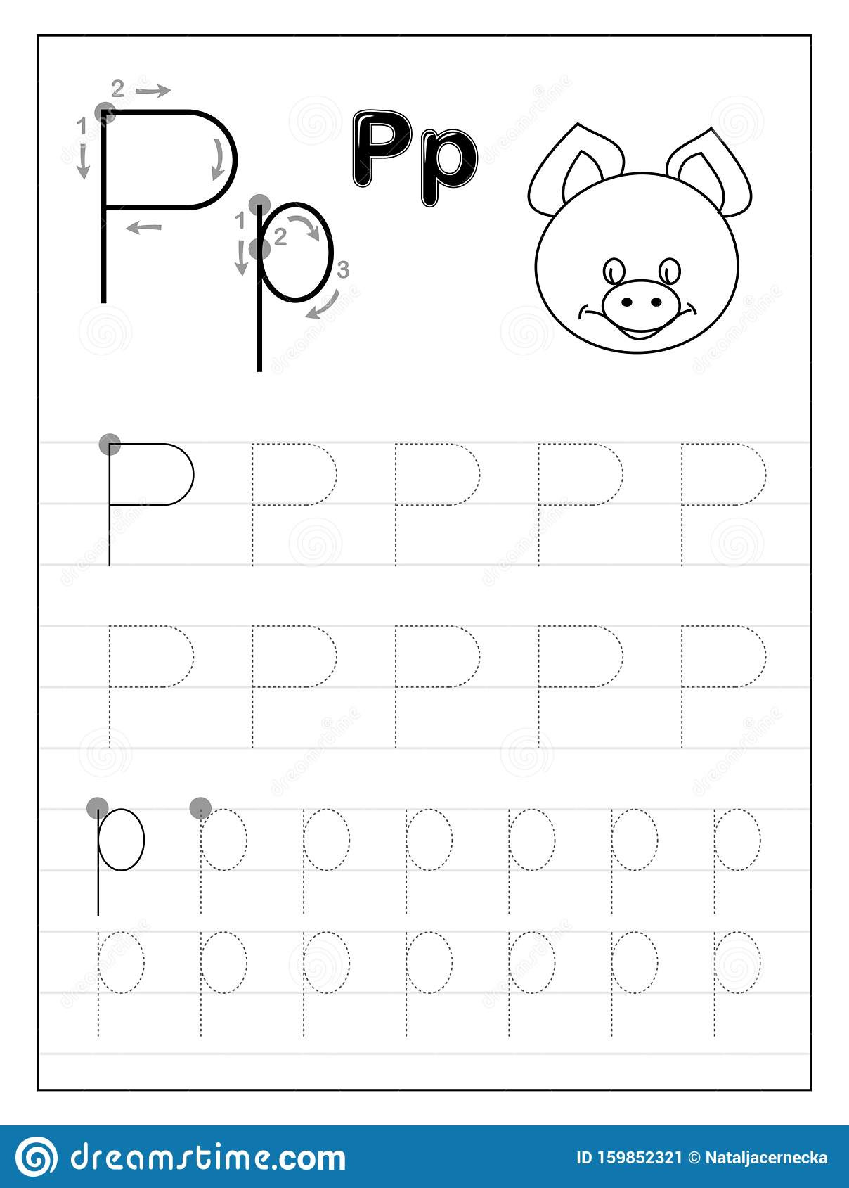 Free Printable Letter P Worksheets Tracing Alphabet Letter P Black and White Educational Pages