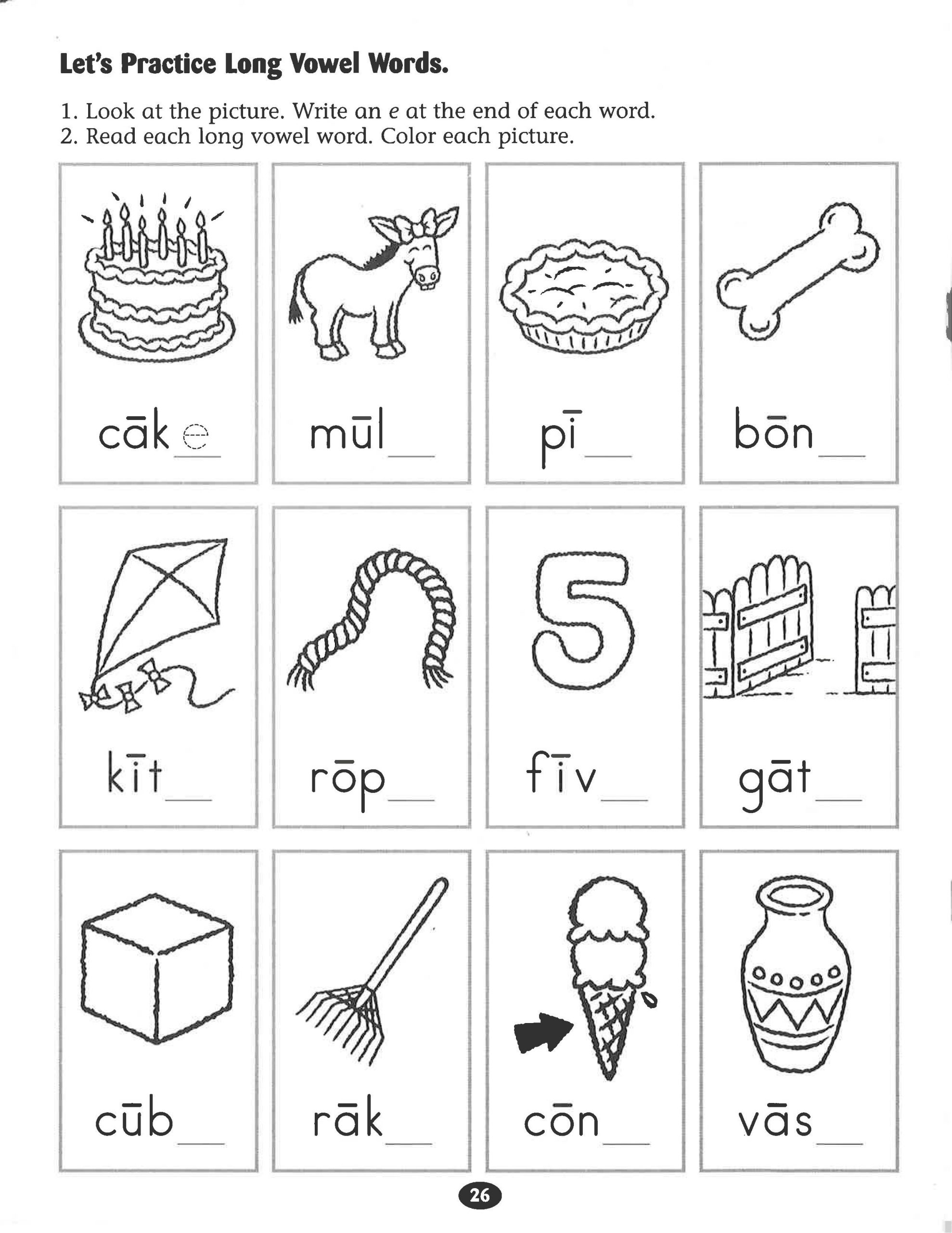 Free Printable Long Vowel Worksheets Let S Practice Long Vowel Words Worksheet