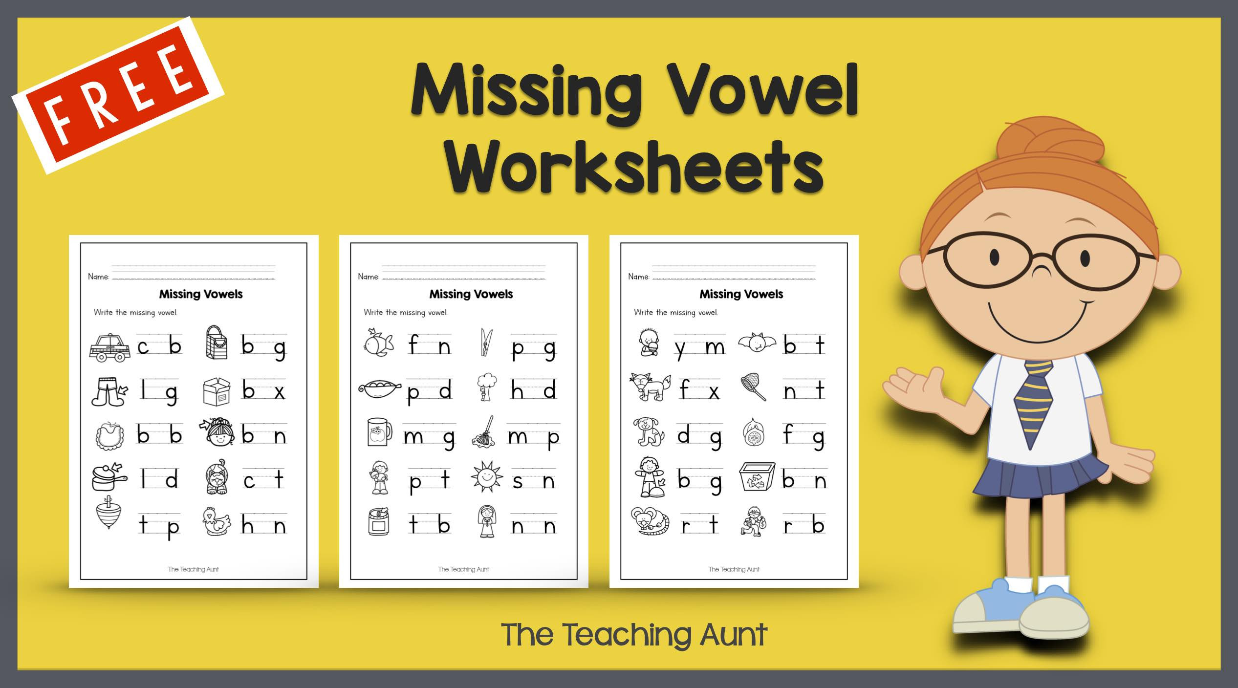 Free Printable Long Vowel Worksheets Missing Vowel Worksheets for Kindergarten the Teaching Aunt