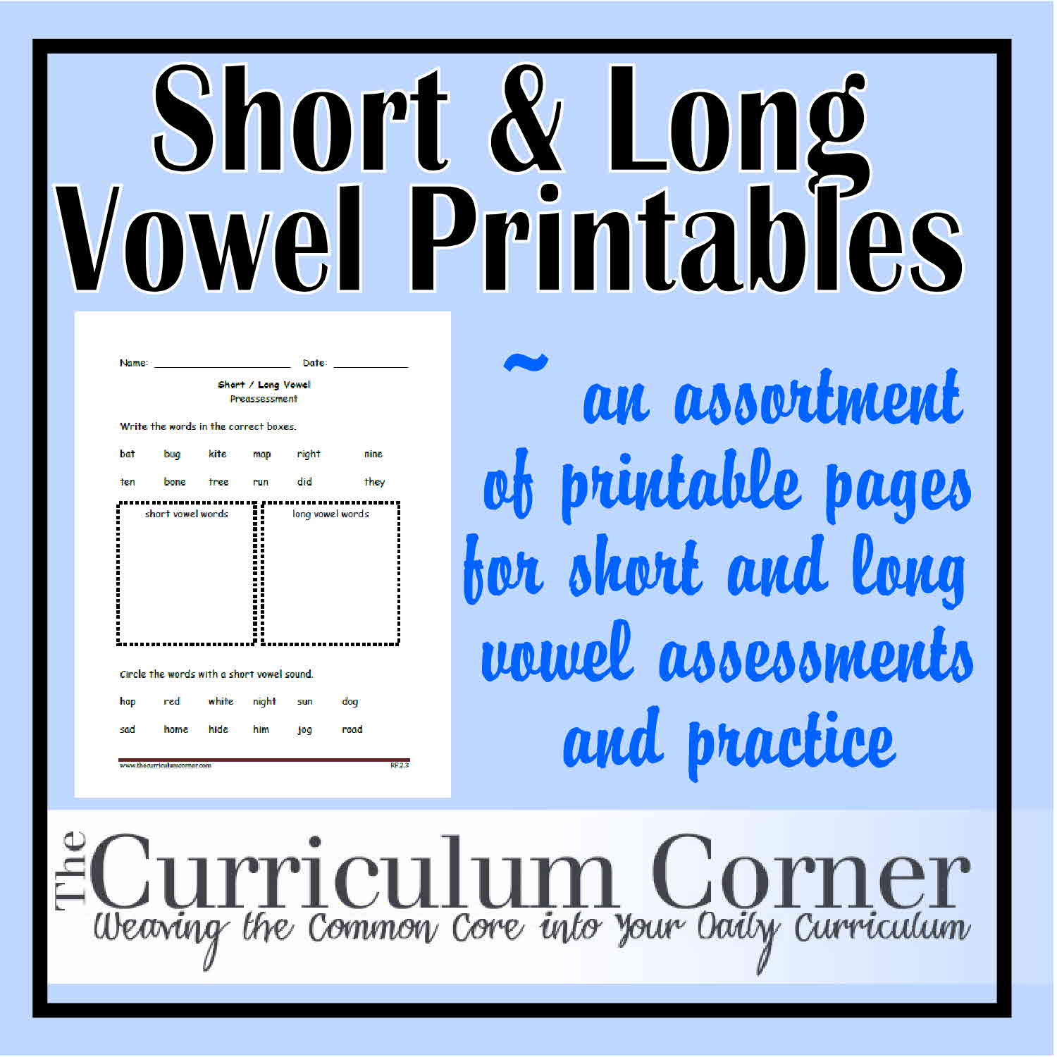 Free Printable Long Vowel Worksheets Short and Long Vowel sound Printables the Curriculum