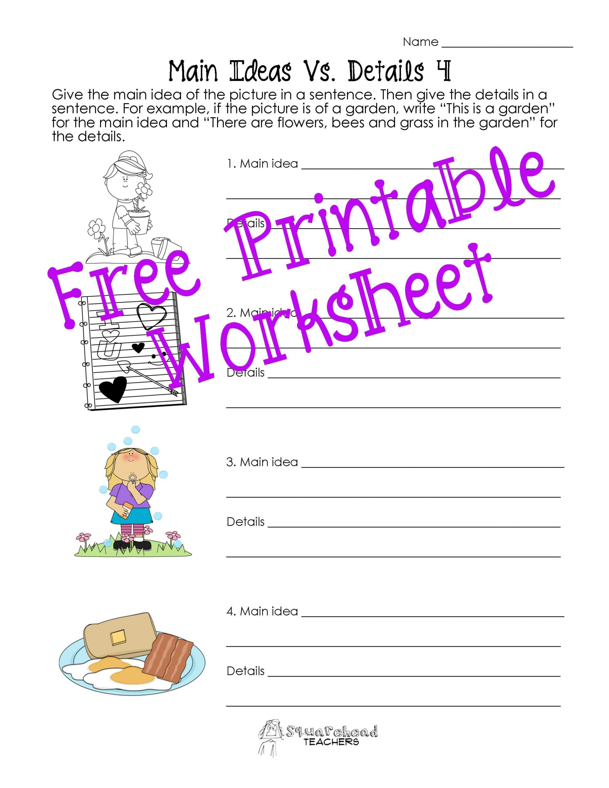 Free Printable Main Idea Worksheets Main Idea Vs Details Worksheets Post 2