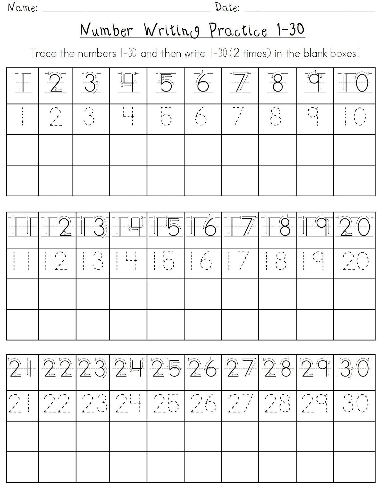 Free Printable Number Tracing Worksheets Printable Number 1 30 Worksheets