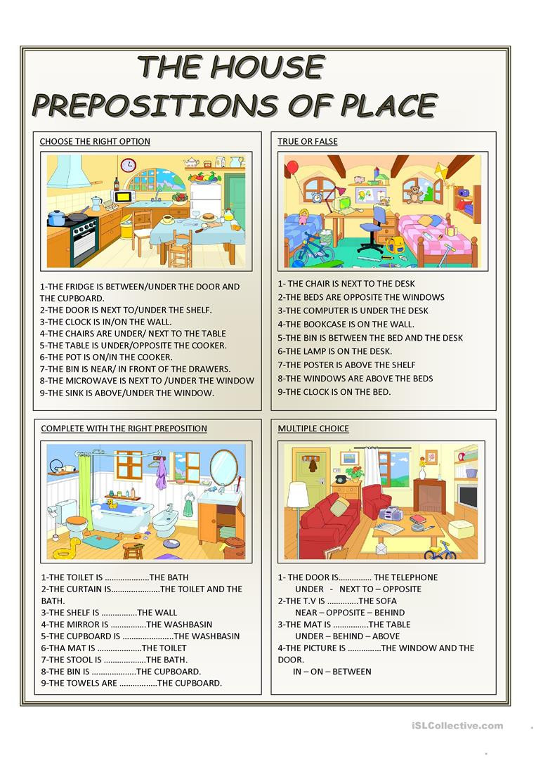 Free Printable Preposition Worksheets English Esl Prepositions Worksheets Most Ed 1055