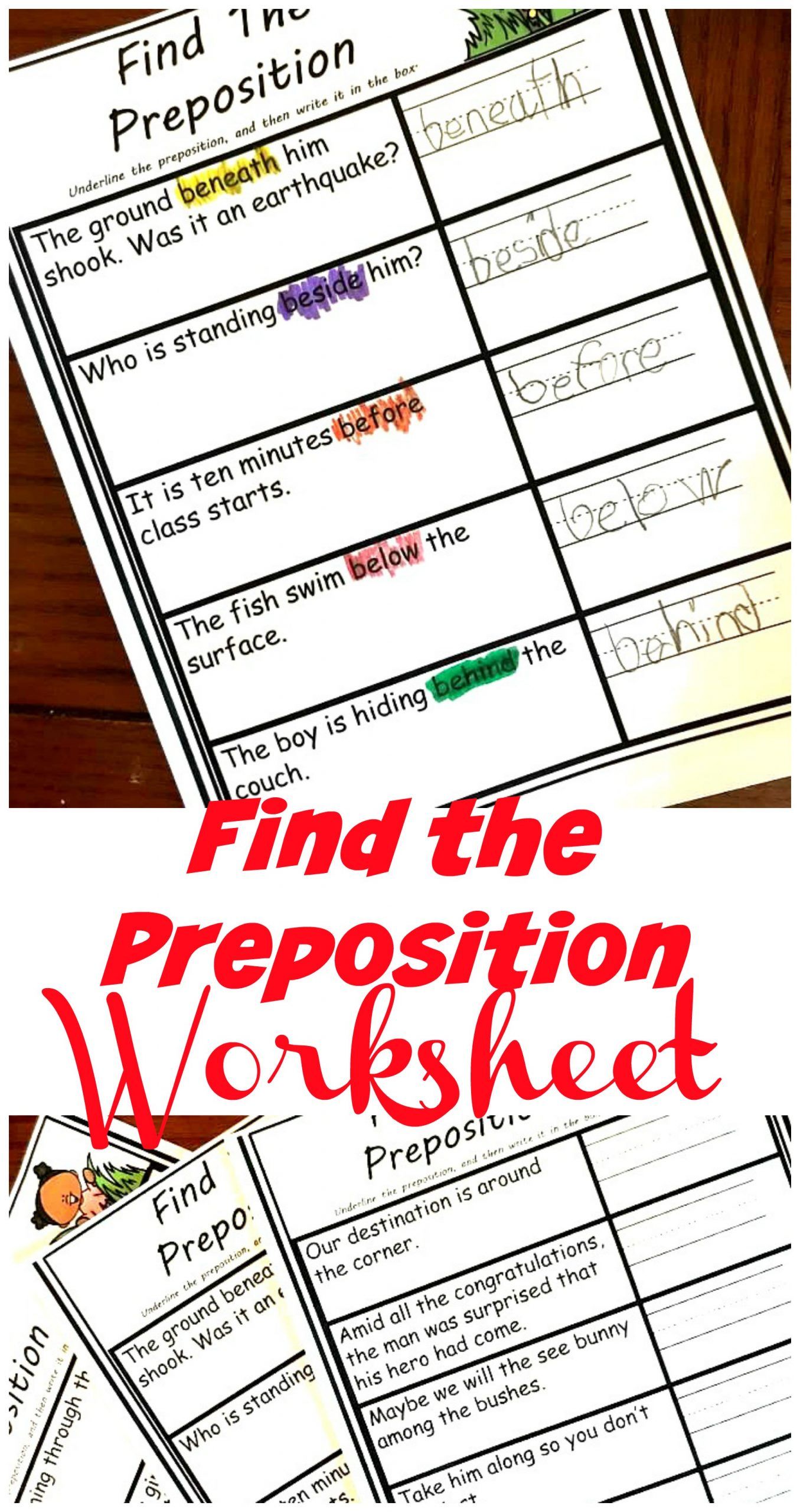 Free Printable Preposition Worksheets Free Simple and Easy Find the Preposition Worksheets