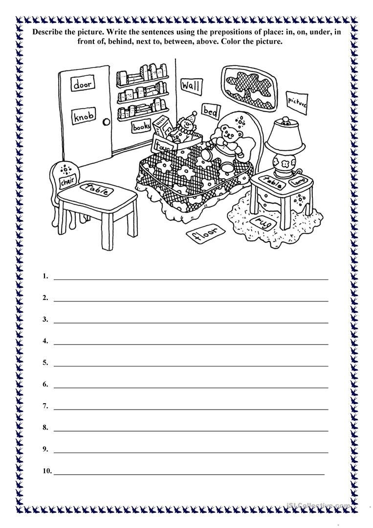 Free Printable Preposition Worksheets Prepositions Of Place Describe and Color the Picture