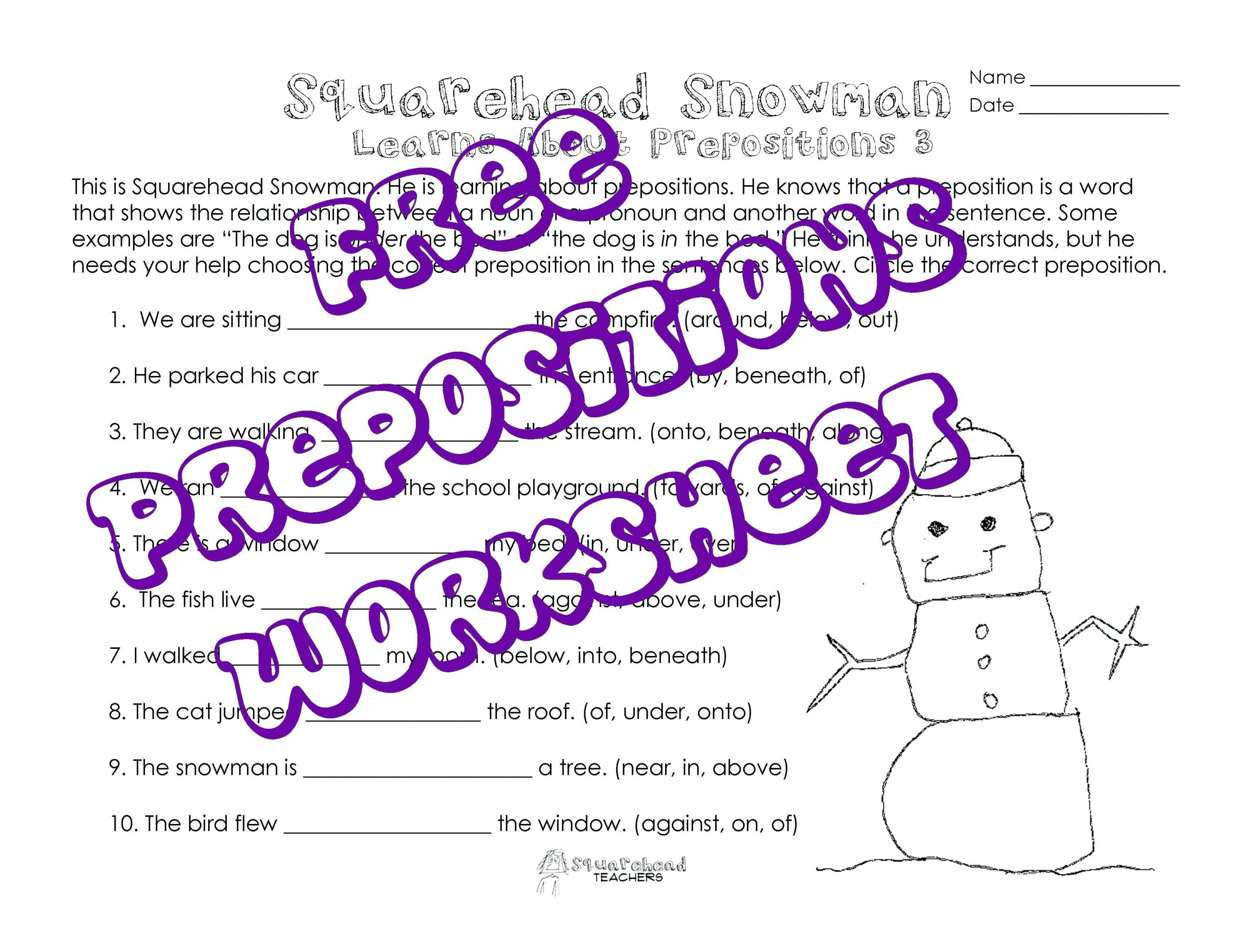 Free Printable Preposition Worksheets Prepositions Practice Worksheet Diagramming Sentences