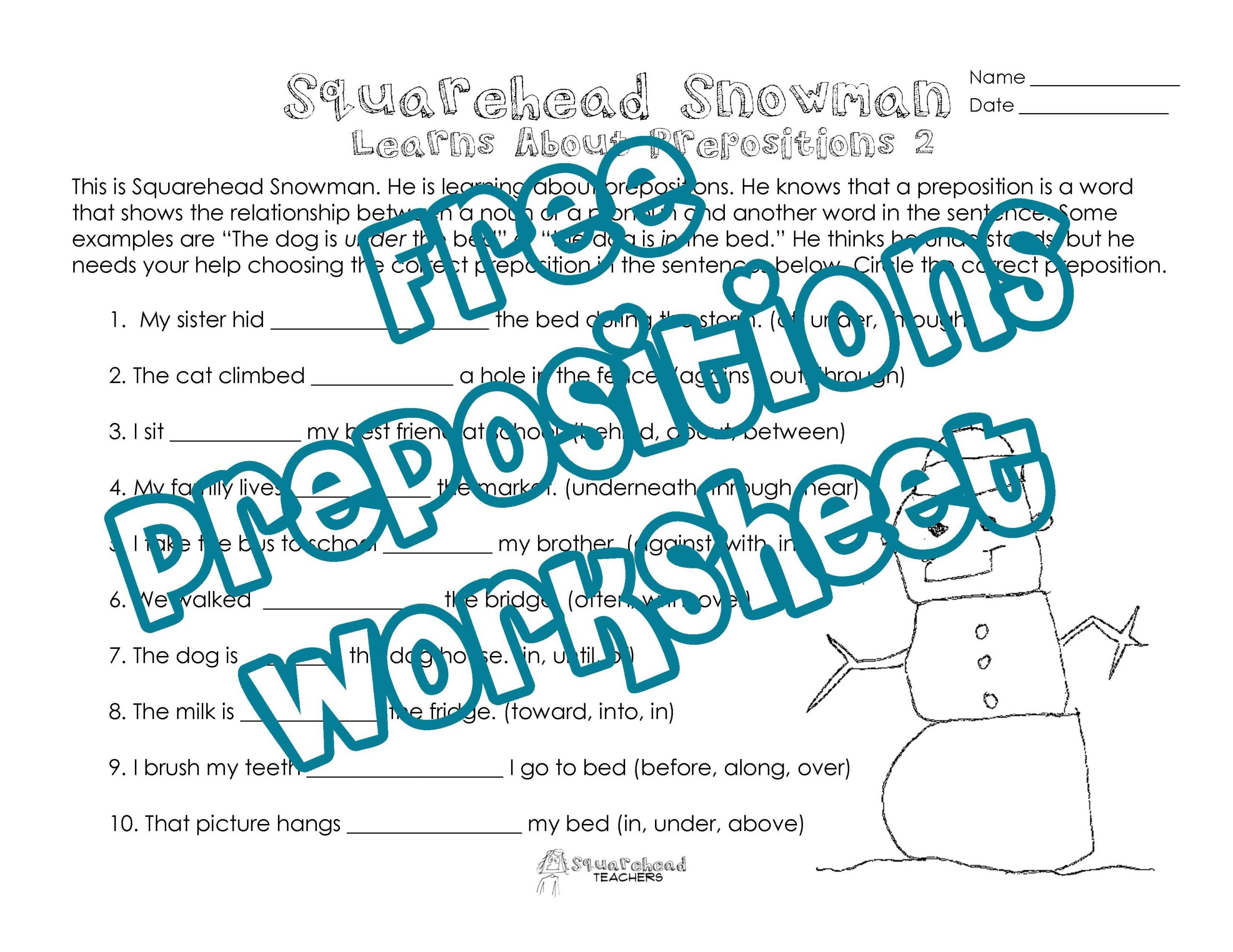 Free Printable Preposition Worksheets Squarehead Snowman Prepositions Practice 2