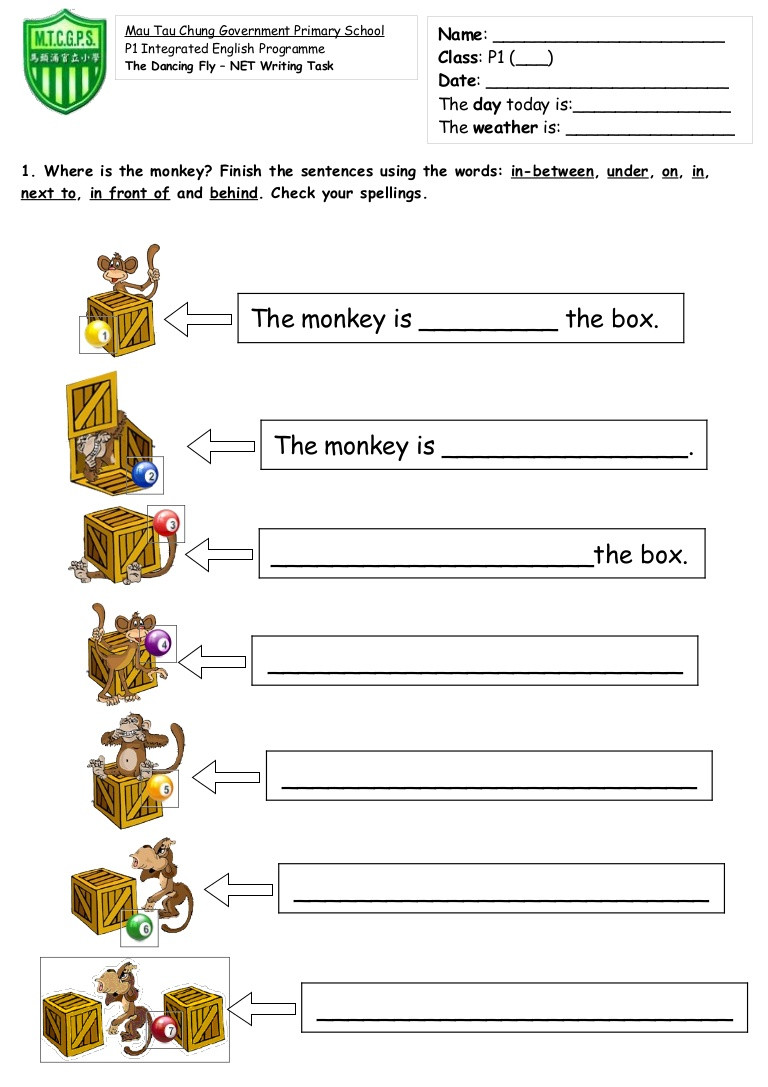 Free Printable Preposition Worksheets tom S Tefl Prepositions Of Place