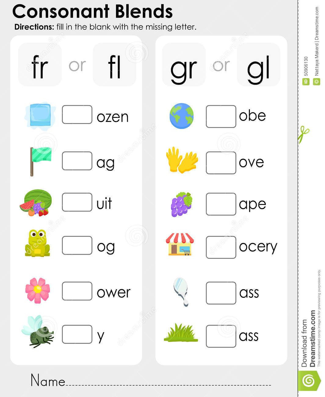 Free Printable R Blends Worksheets Consonant Blends Missing Letter Worksheet for Education