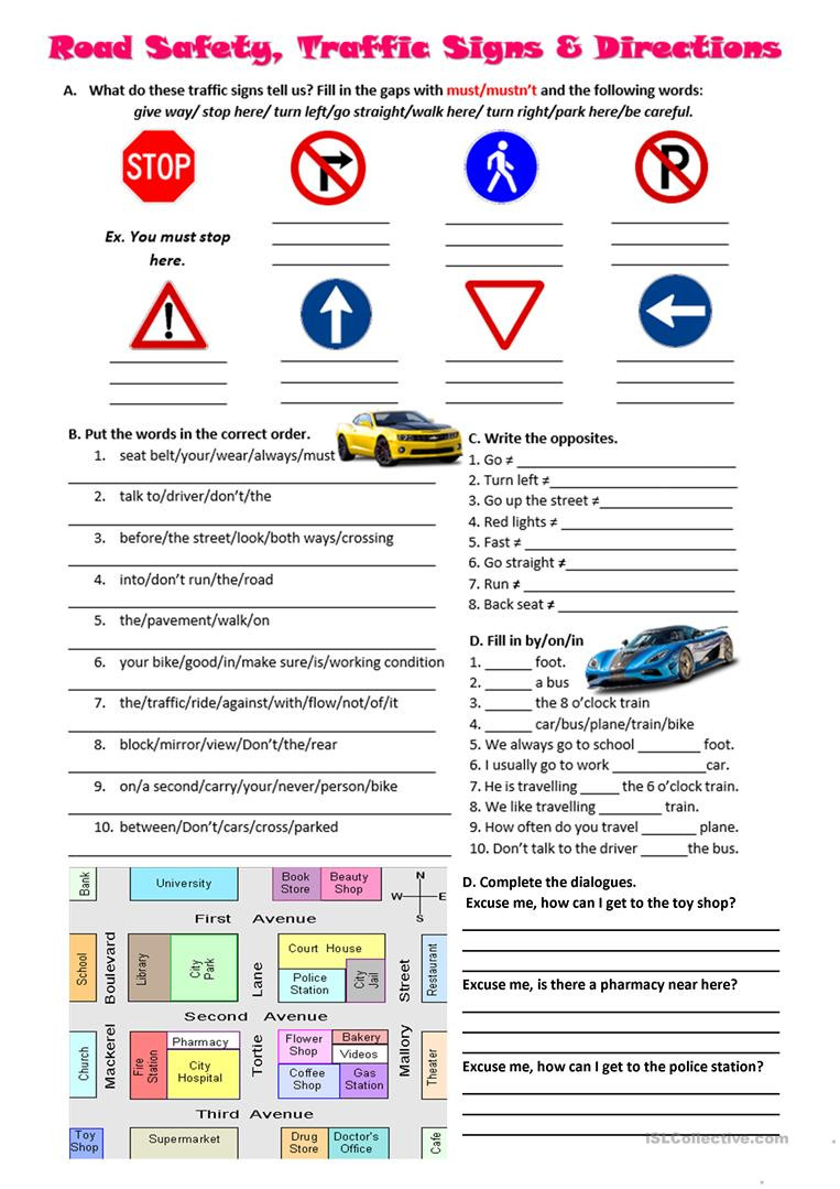 Free Printable Safety Signs Worksheets Road Safety Traffic Signs and Directions English Esl