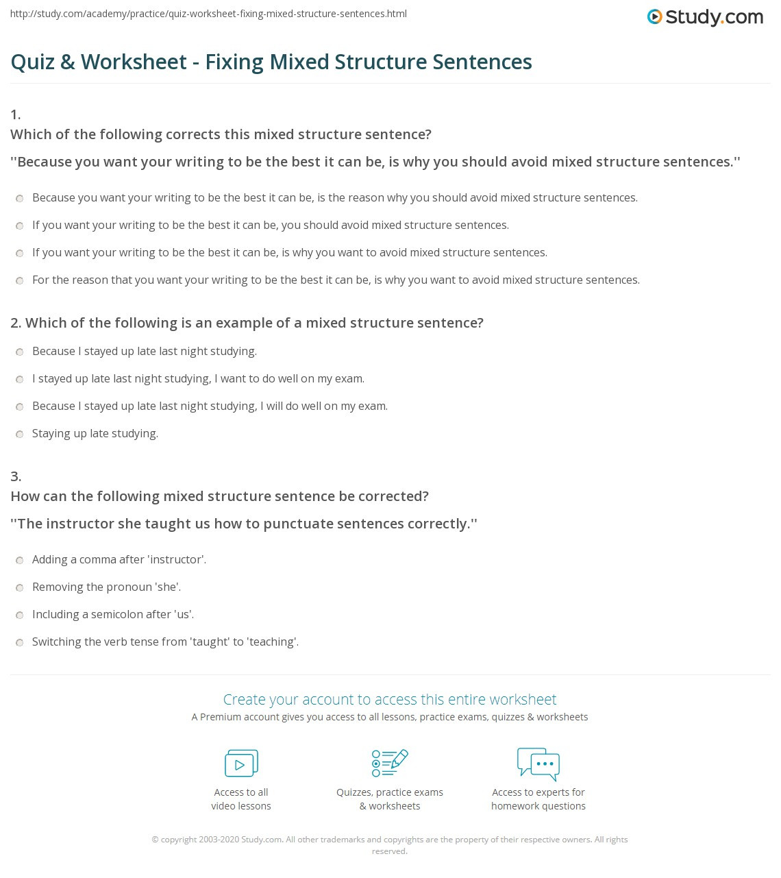 Free Printable Sentence Structure Worksheets Quiz & Worksheet Fixing Mixed Structure Sentences