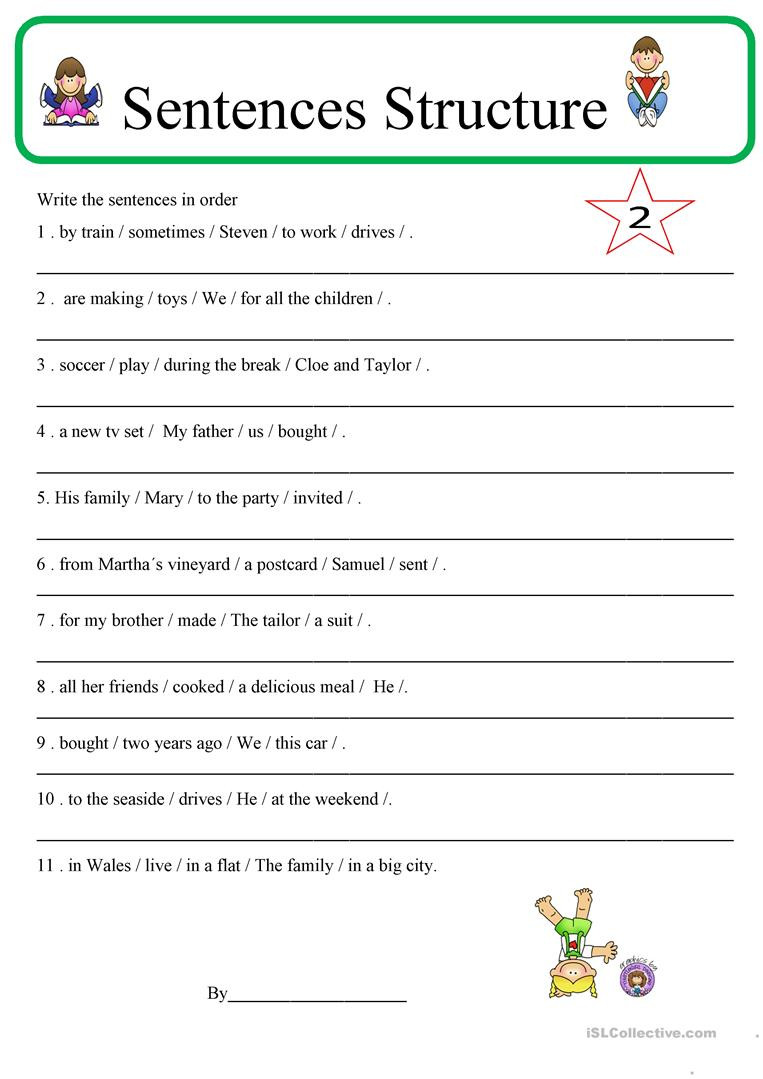 Free Printable Sentence Structure Worksheets Sentence Structure 2 English Esl Worksheets for Distance