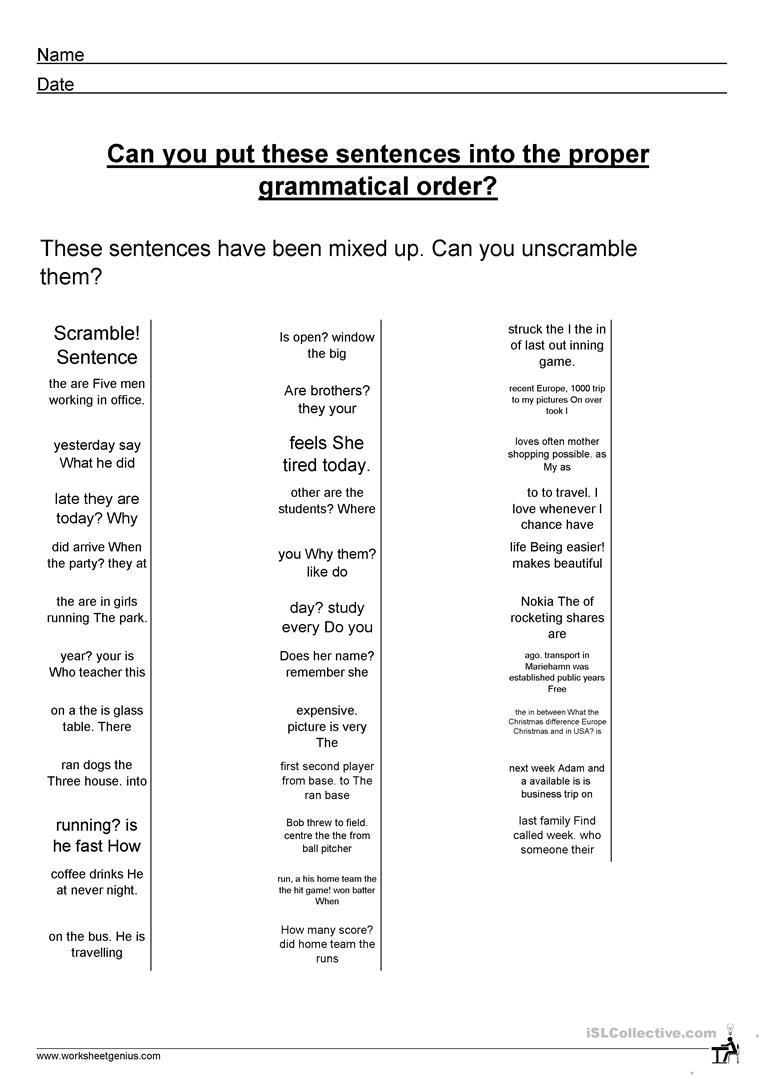 Free Printable Sentence Structure Worksheets Sentence Structure English Esl Worksheets for Distance
