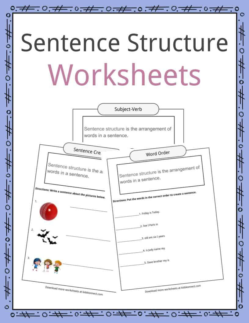 Free Printable Sentence Structure Worksheets Sentence Structure Worksheets Examples & Definition for Kids