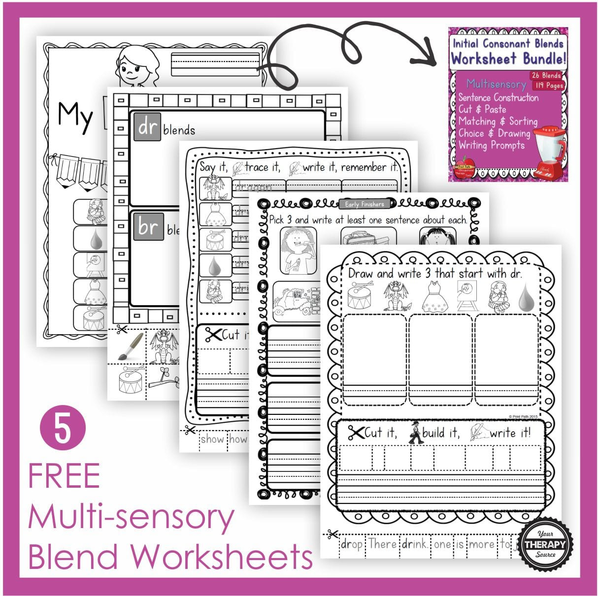 Free Printable Sentence Writing Worksheets Free Blends Worksheets Multisensory Learning Your