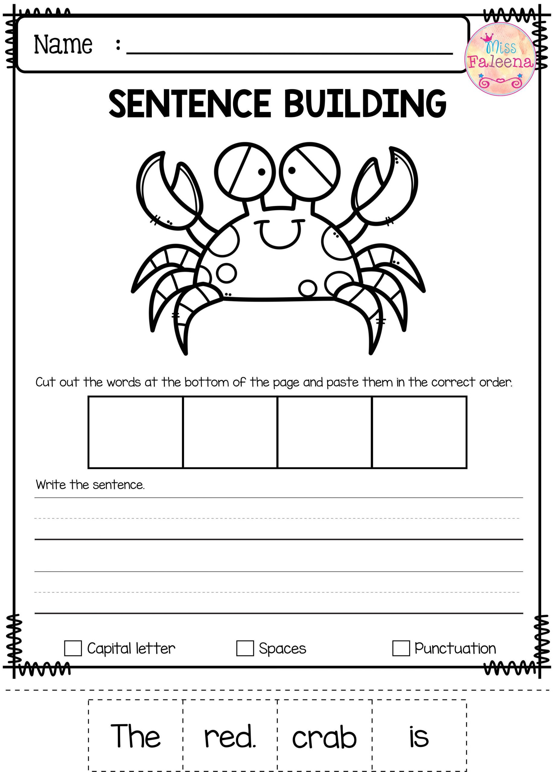 Free Printable Sentence Writing Worksheets Free Sentence Building