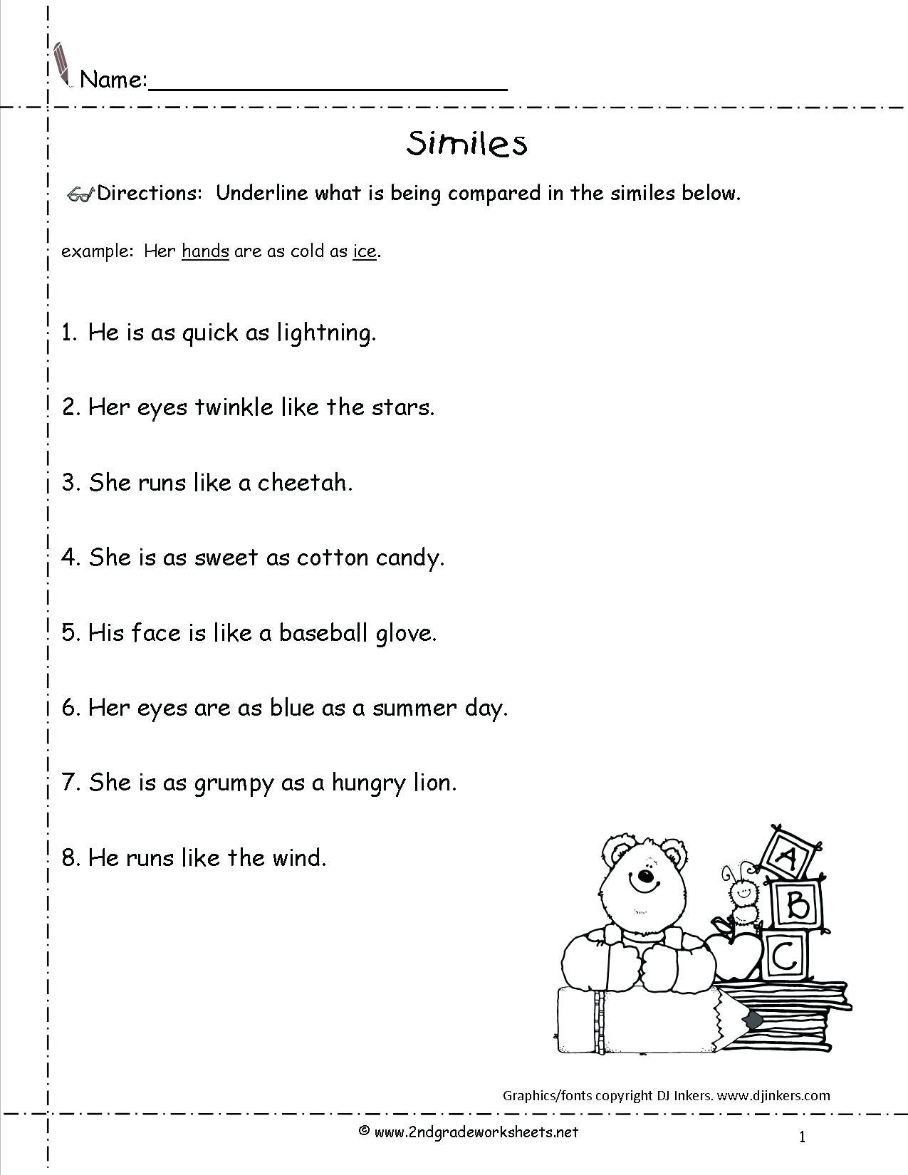 Free Printable Simile Worksheets Simile Worksheets Answers
