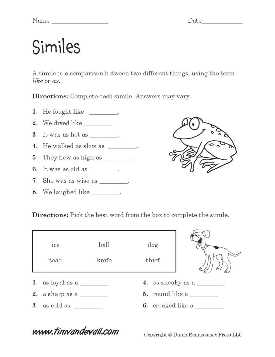 Free Printable Simile Worksheets Simile Worksheets Pdf S Beatlesblogcarnival