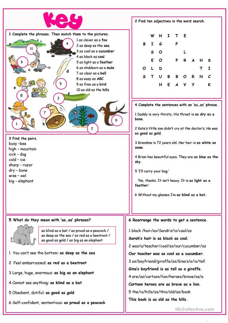 Free Printable Simile Worksheets Similes Vocabulary Exercises English Esl Worksheets for