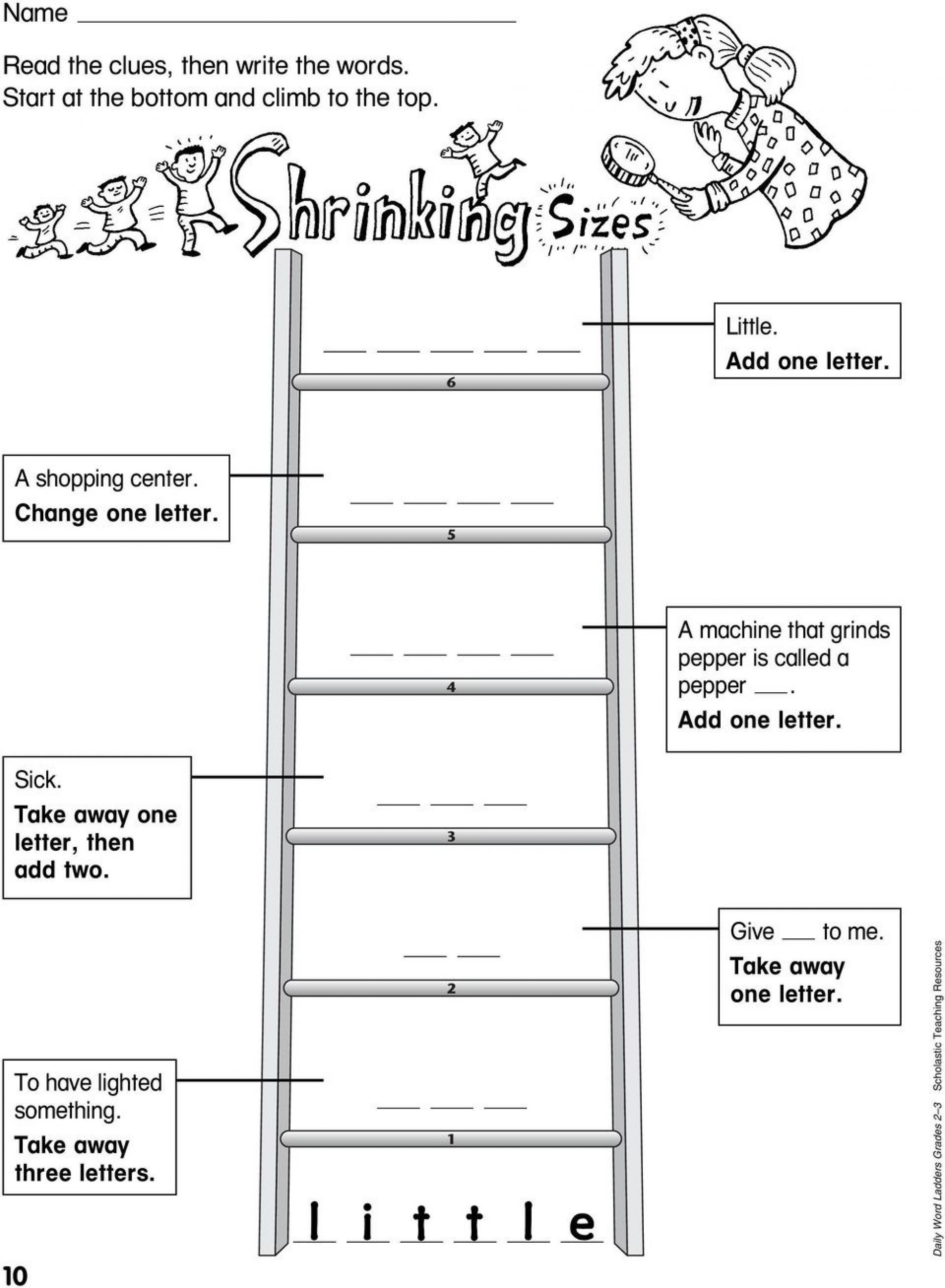 Free Printable Word Ladders Word Ladder Worksheet