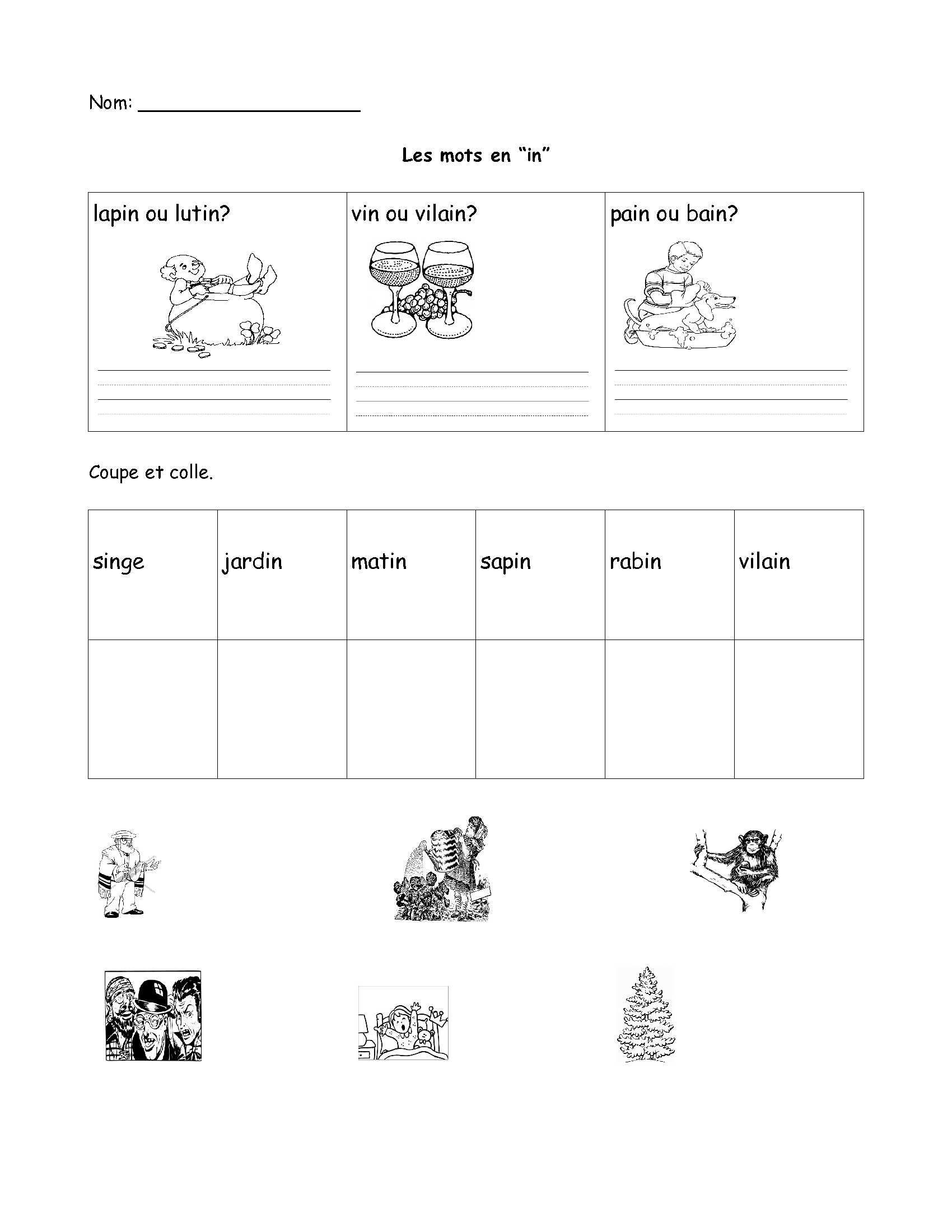 French Printable Worksheets Worksheet Vocabulary In French
