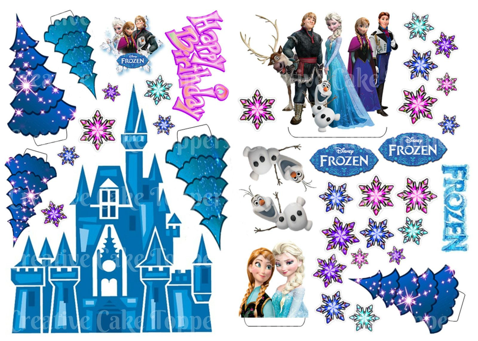 Frozen Cake toppers Printable Disney Frozen Birthday Party Princess Anna Elsa Castle Cake