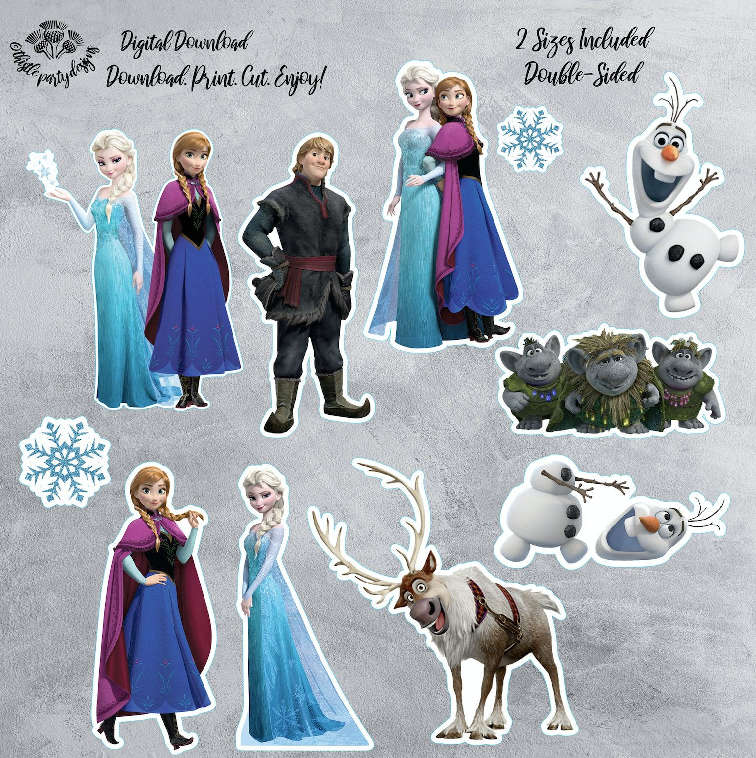 Frozen Cake toppers Printable Frozen Digital Centerpieces Printable Frozen Cake topper