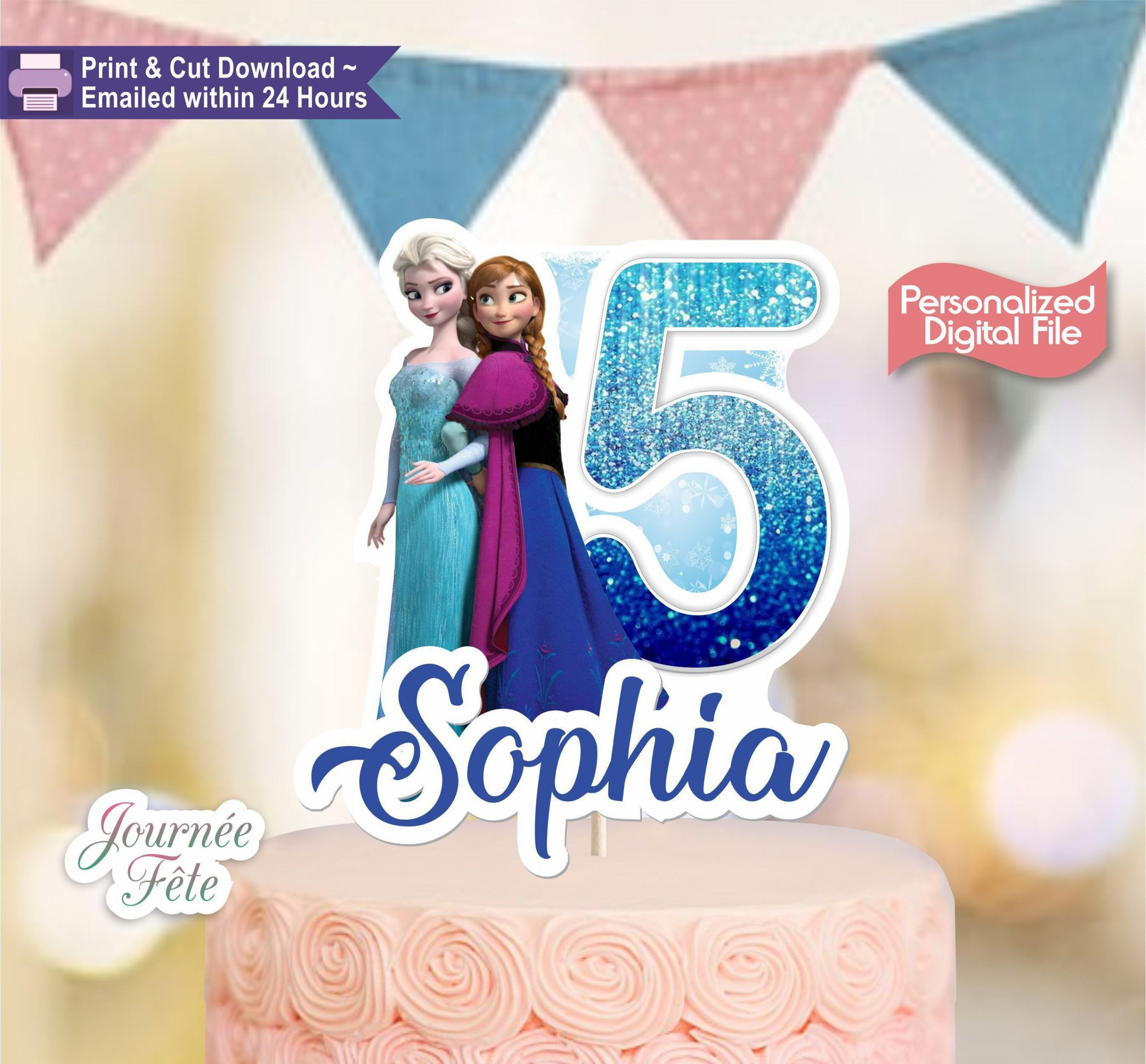 Frozen Cake toppers Printable Frozen Personalized Printable Cake topper Elsa & Anna From
