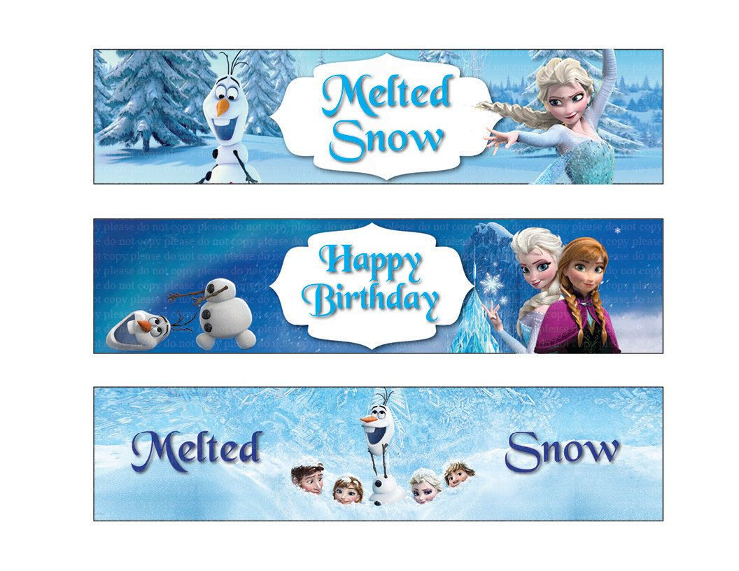 Frozen Free Printable Food Labels Disney Frozen Water Bottle Labels