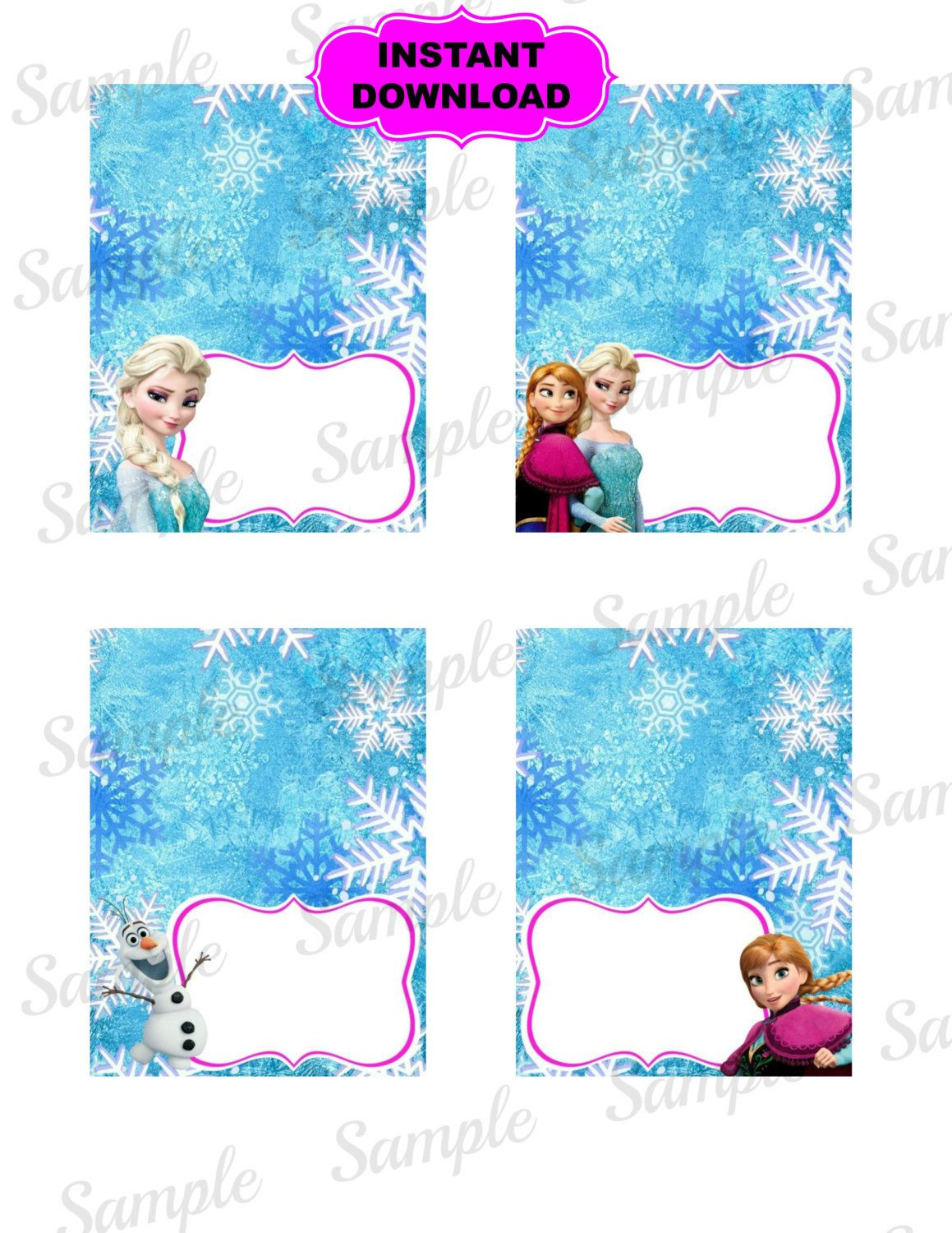 Frozen Free Printable Food Labels Frozen Food Tent Princess Printable Disney by Kidspartypixel
