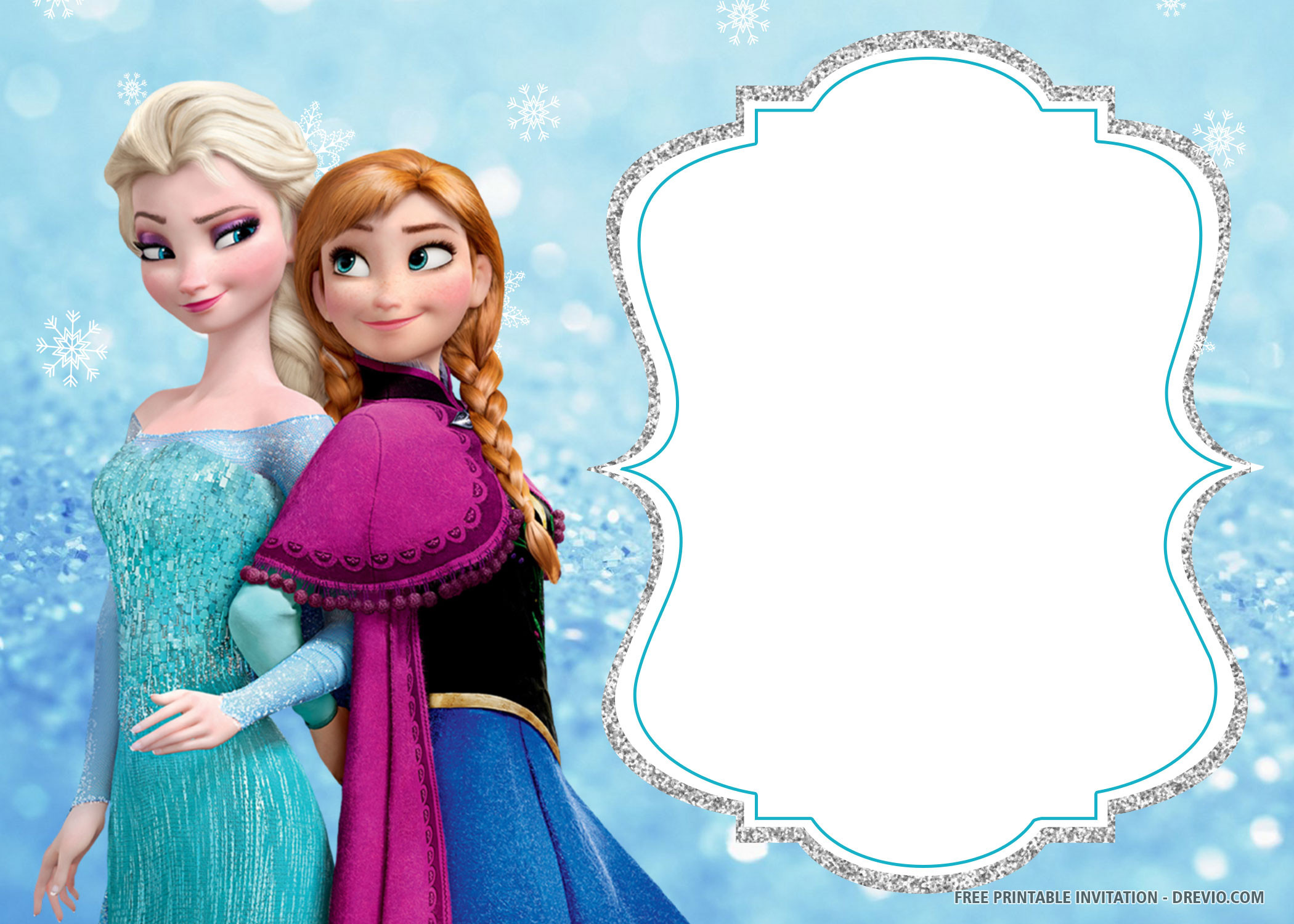 Frozen Invitations Printable Free Free Printable Frozen Anna and Elsa Invitation Templates