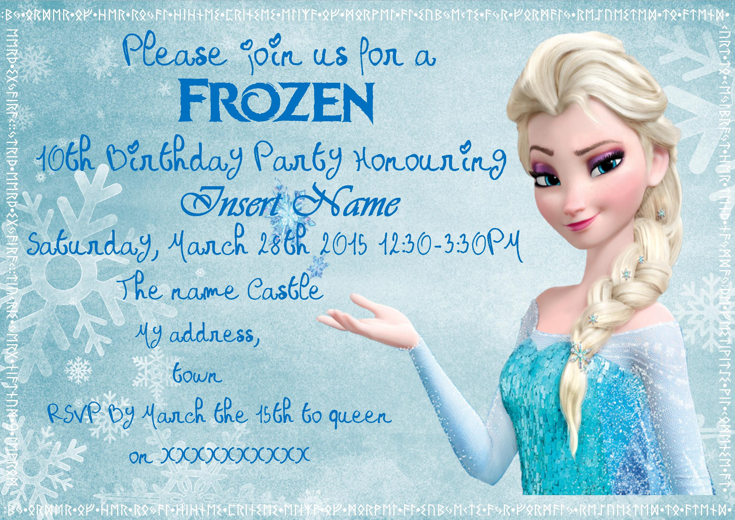 Frozen Invitations Printable Frozen Invite Free Printable – Mothering the Spectrum