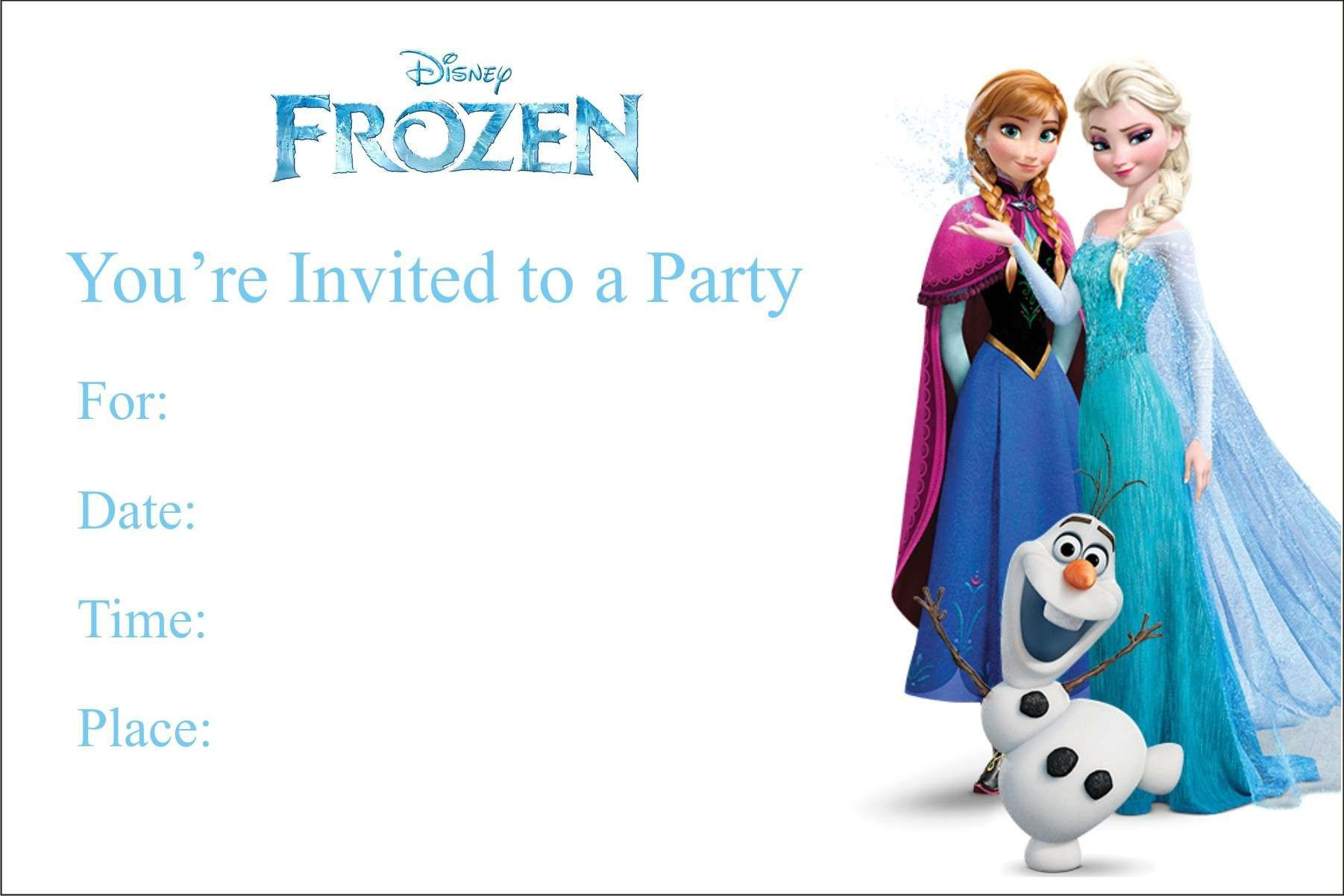 Free Blank Printable Frozen Birthday Invitations UK